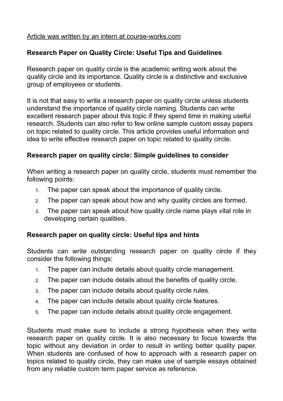 Calamo  Research Paper On Quality Circle Useful Tips And Guidelines Research Paper On Quality Circle Useful Tips And Guidelines