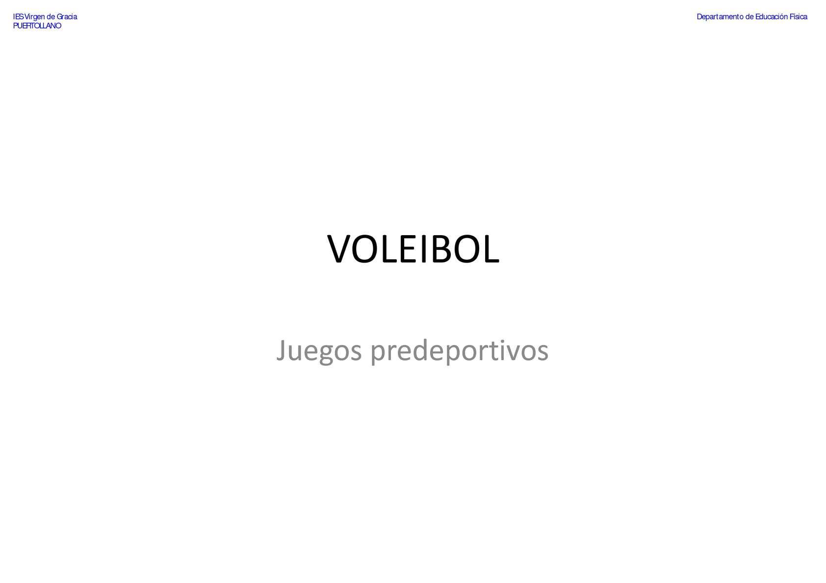 VOLEIBOL - Juegos predeportivos