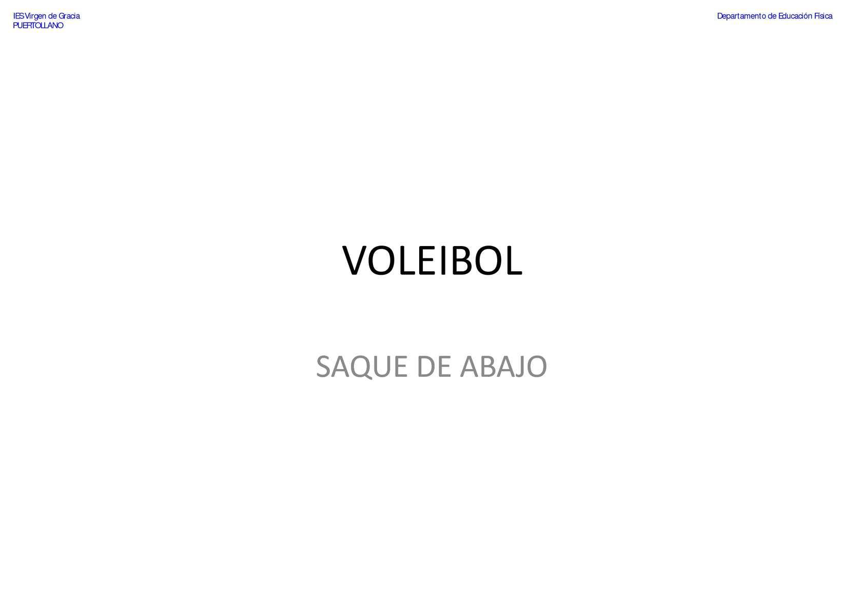 VOLEIBOL - Saque - Saque de Abajo