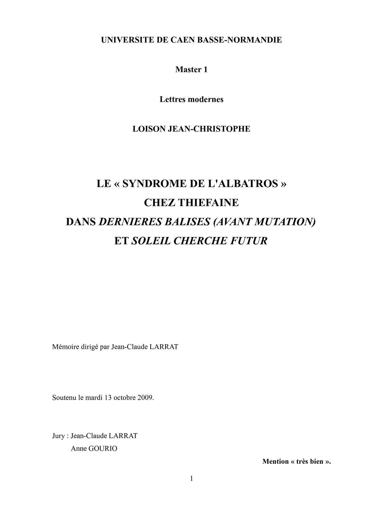LE « SYNDROME DE L'ALBATROS » CHEZ THIEFAINE DANS DERNIERES BALISES (AVANT MUTATION) ET SOLEIL CHERCHE FUTUR