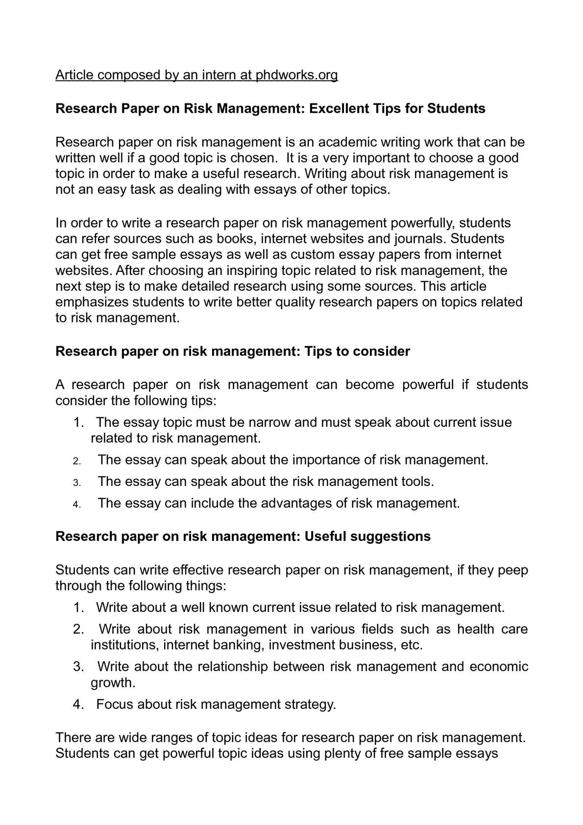 Calamo  Research Paper On Risk Management Excellent Tips For Students  Help Writing Essay Paper also Scientific Article Writing Services  Service Assignment