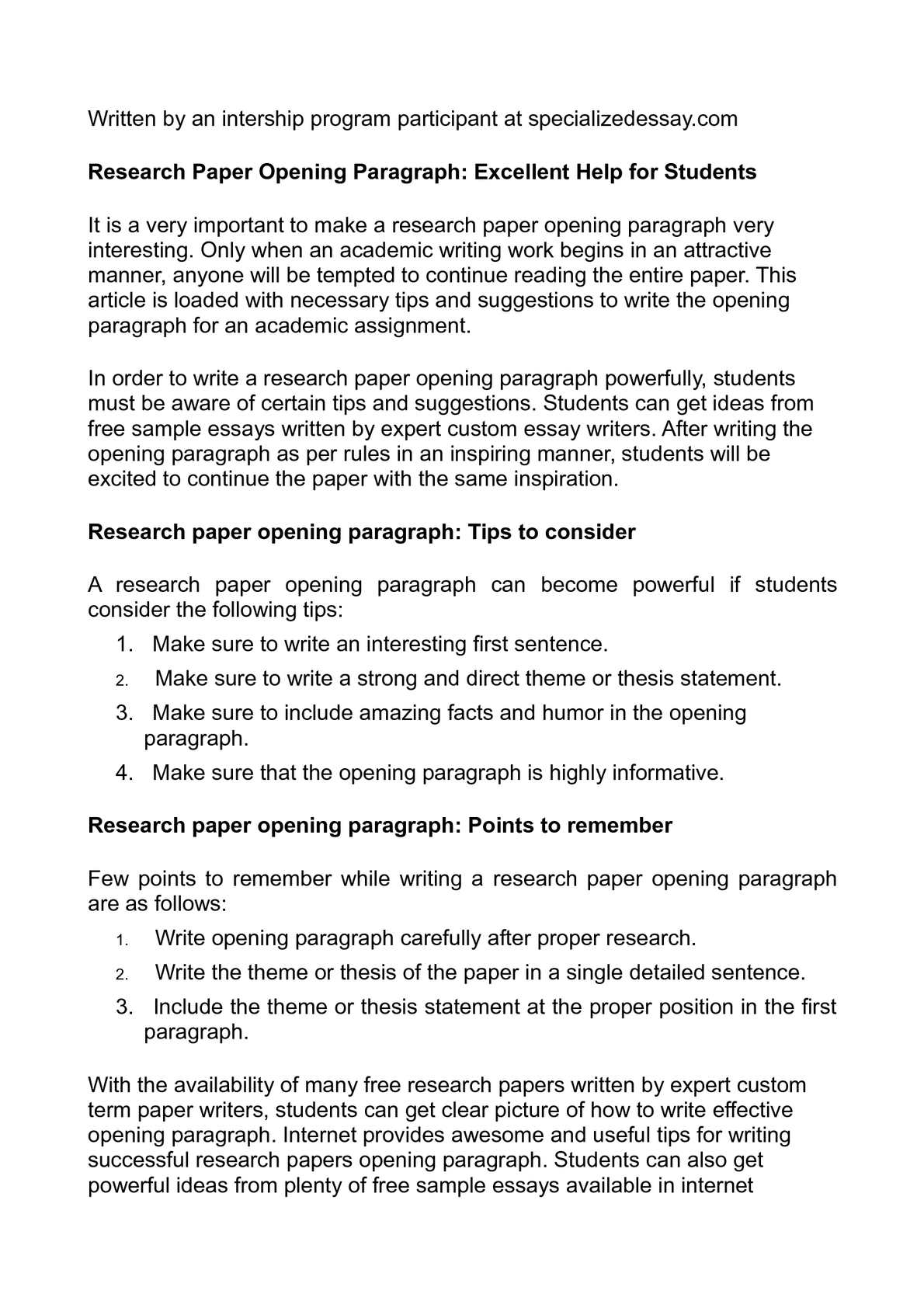 research paper opening paragraph excellent help for  research paper opening paragraph excellent help for students