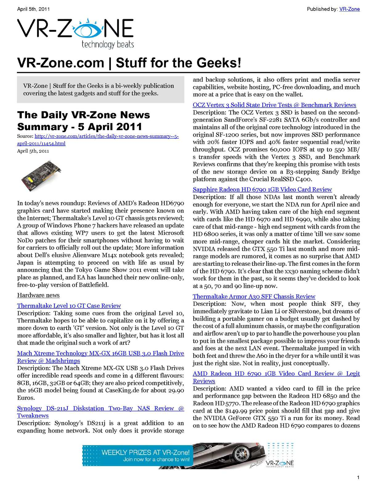 Calamo Vr Zone Technology News Stuff For The Geeks Apr 2011 Issue Protection Circuit Board 2 1channel Speaker Neweggcom