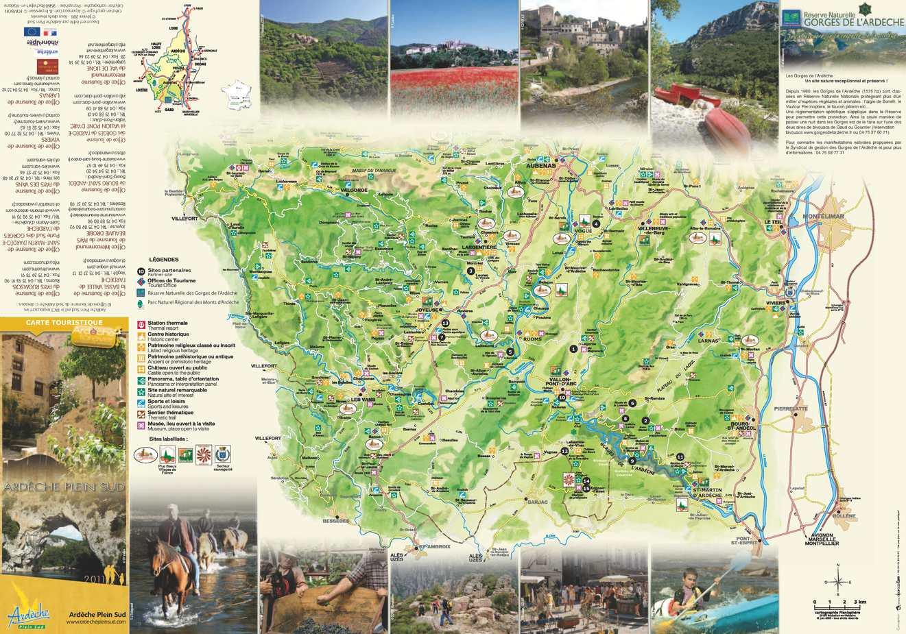 Calam o carte touristique ard che plein sud - Office tourisme saint martin d ardeche ...