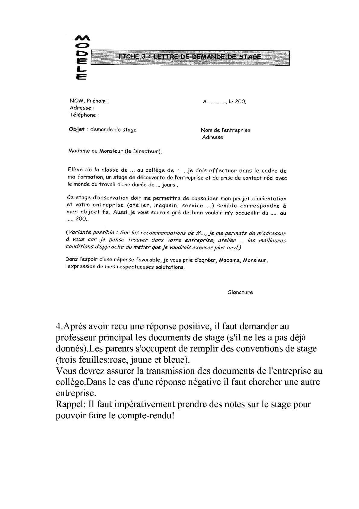 Lettre De Demande De Stage D Observation 3ème - Template ...