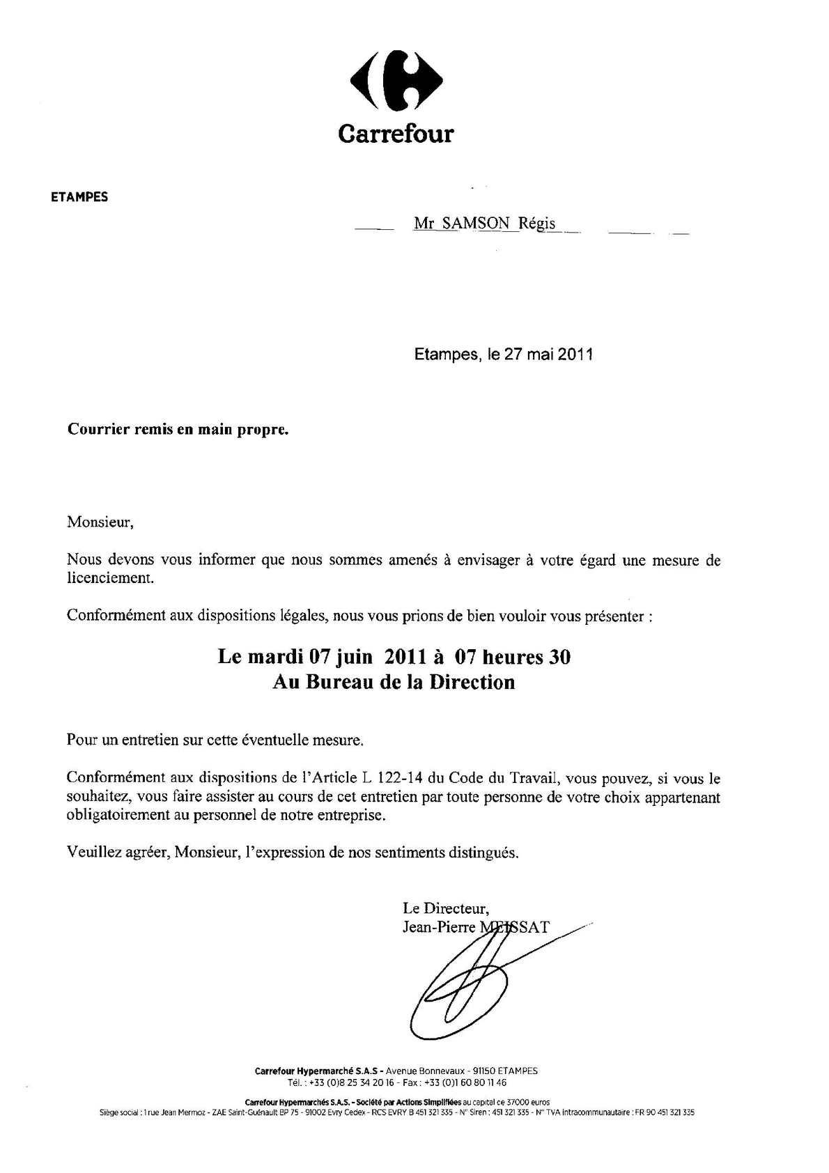 Carrefour Etampes: lettres de convocation pour entretien préalable à licenciement. Régis SAMSON & Carlos DA CRUZ