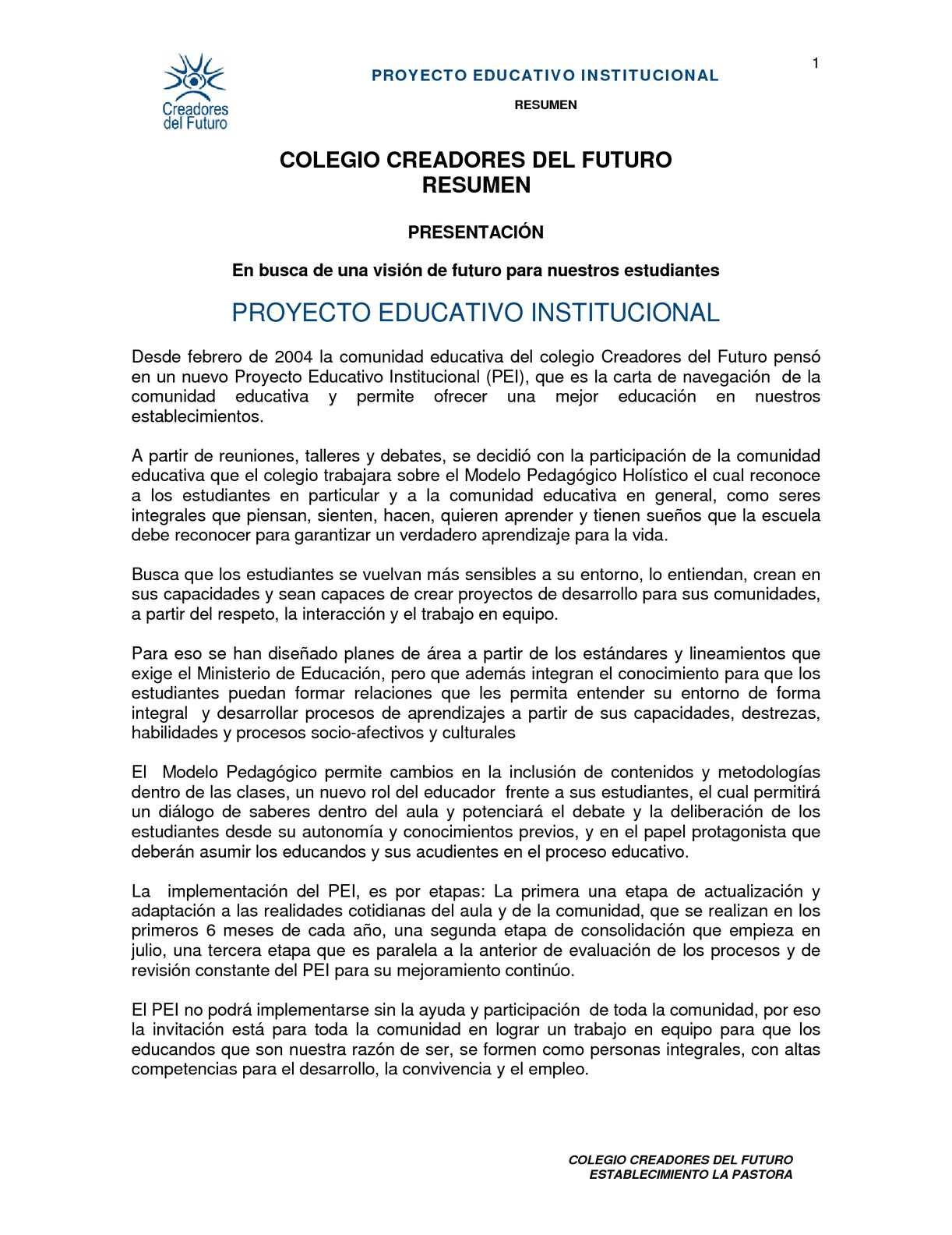 Calaméo - Resumen PEI / Establecimiento La Pastora