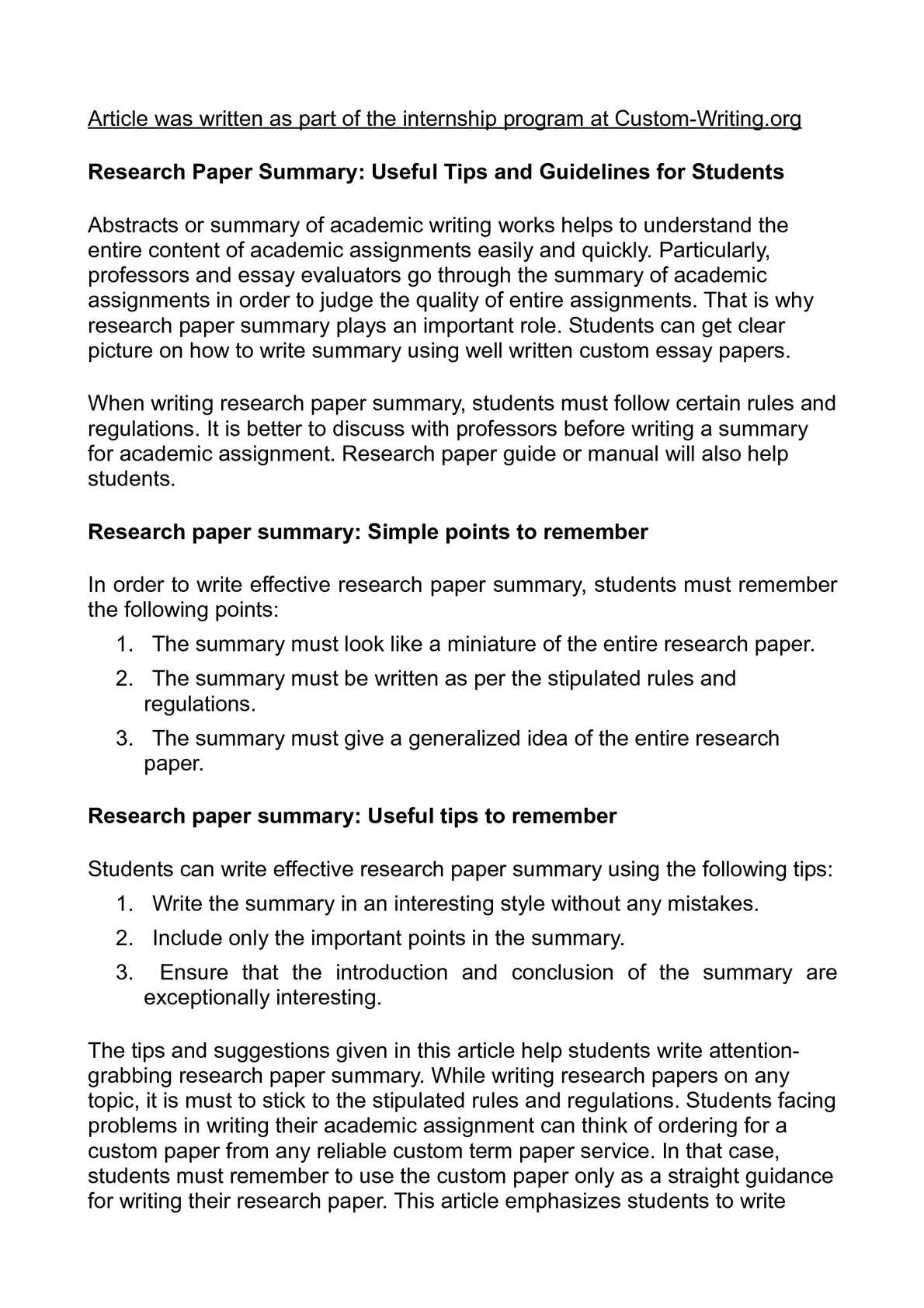 summary for research paper An apa research paper model thomas delancy and adam solberg wrote the following research paper for a psychology class as you review their paper.