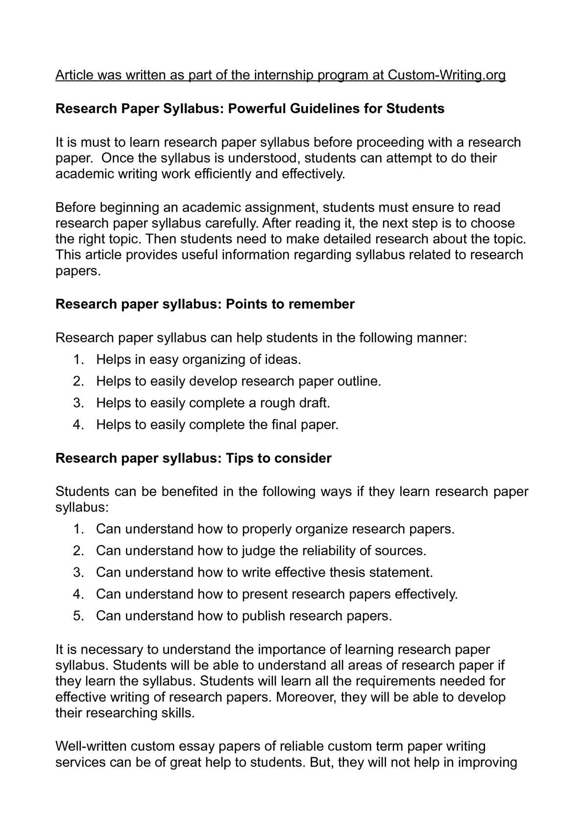 Organize a research paper