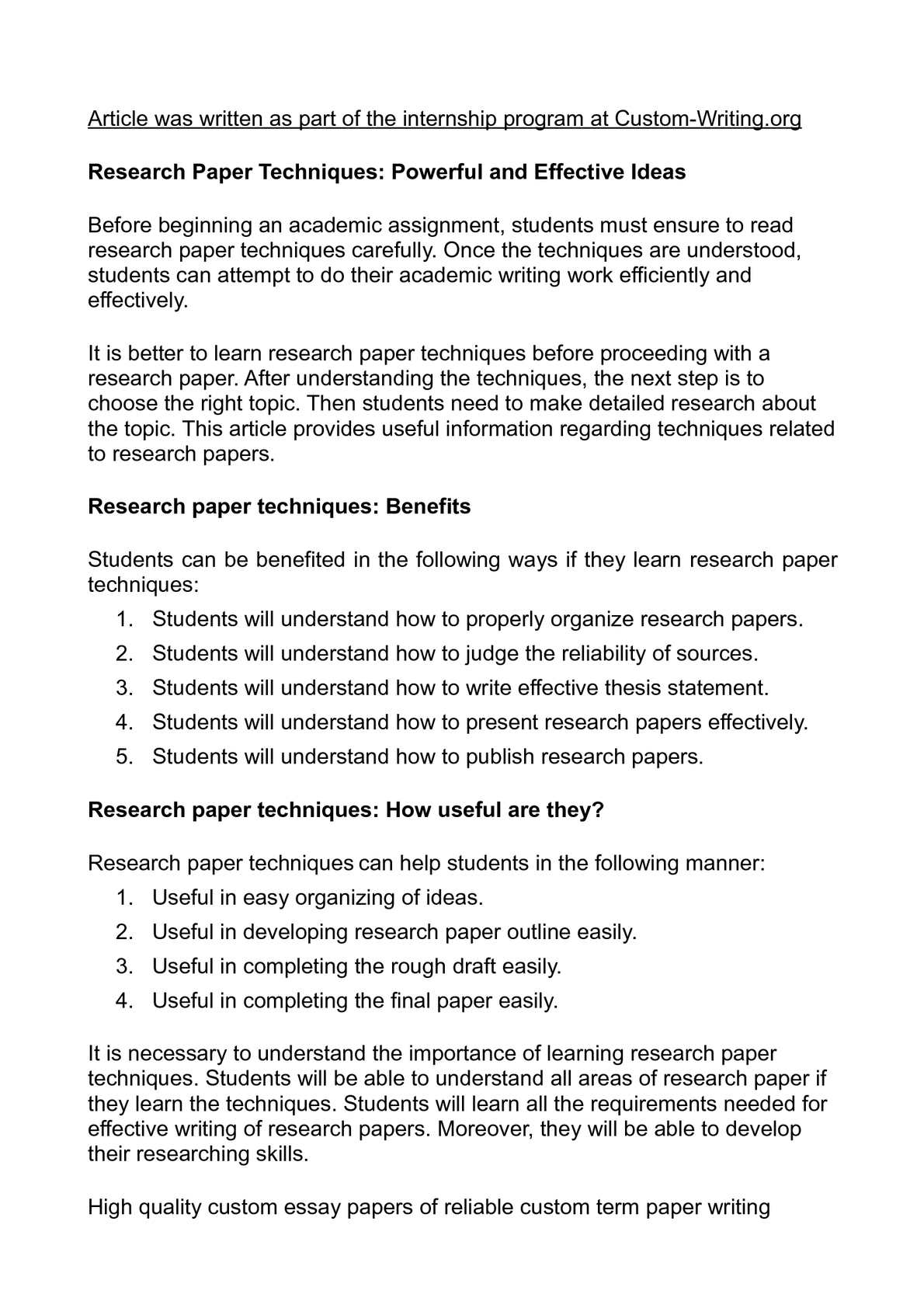 how do research papers help students