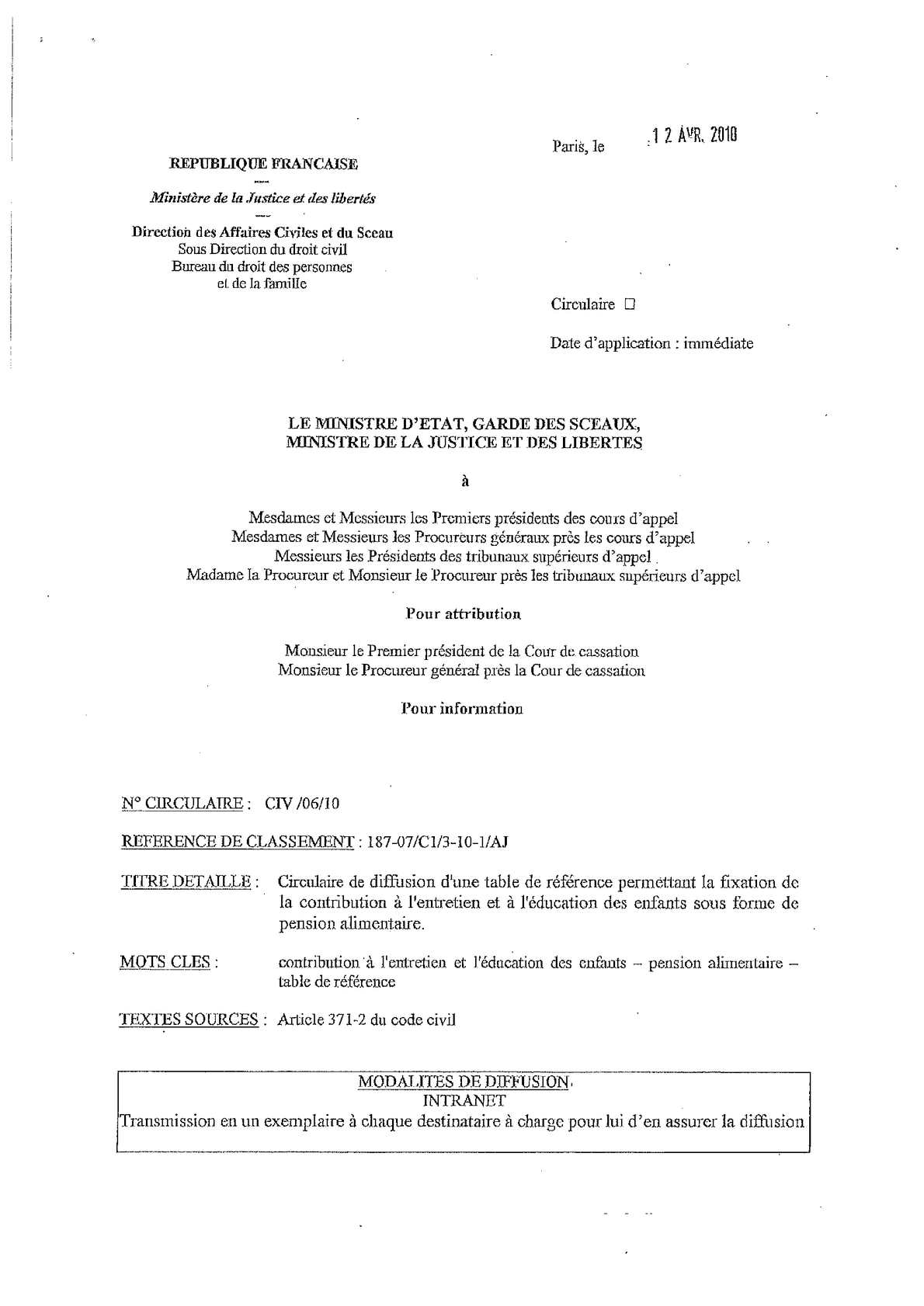Calam o circulaire civ 06 10 du 12 avril 2010 table de reference calcul de la pension - Table pension alimentaire ...