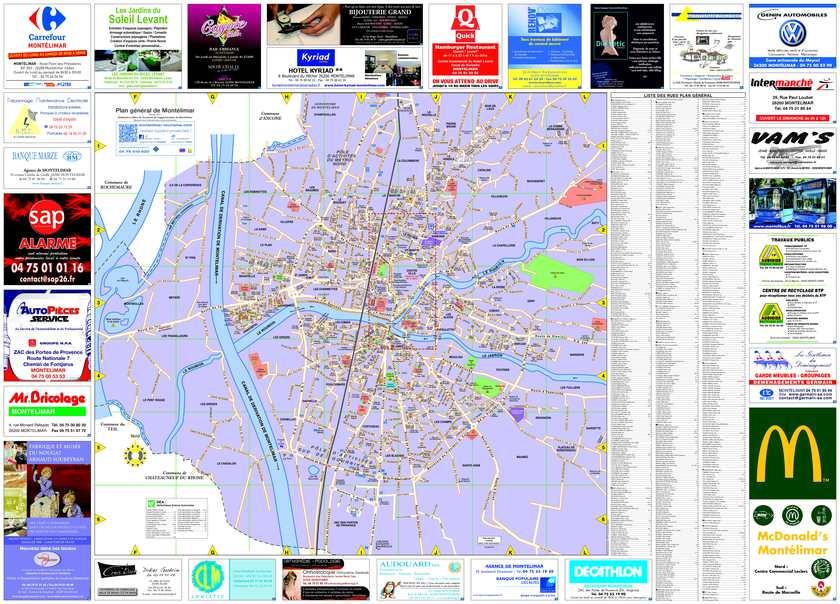 Calam o plan g n ral et plan du centre ville de mont limar - Office du tourisme de montelimar ...