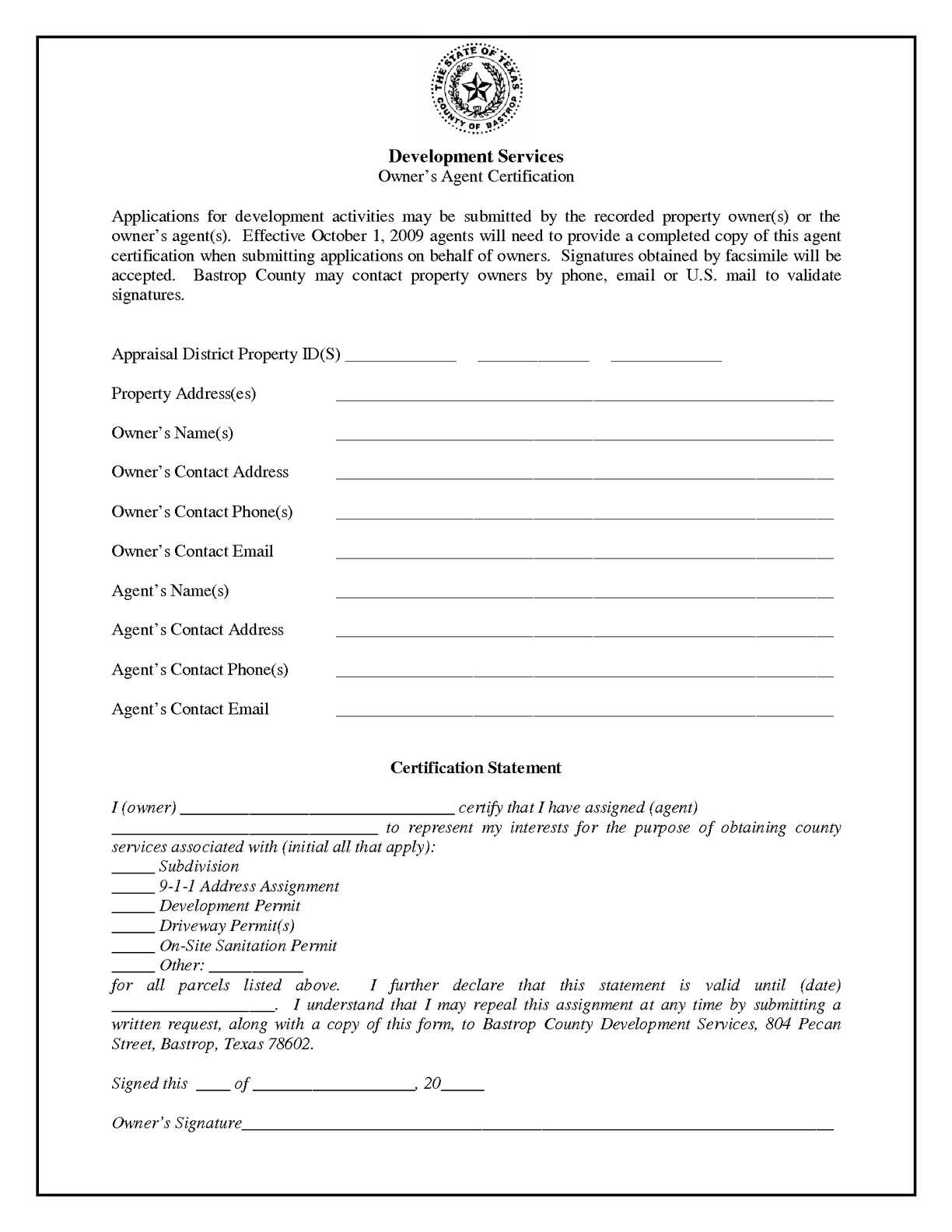 Calamo Owners Agent Form