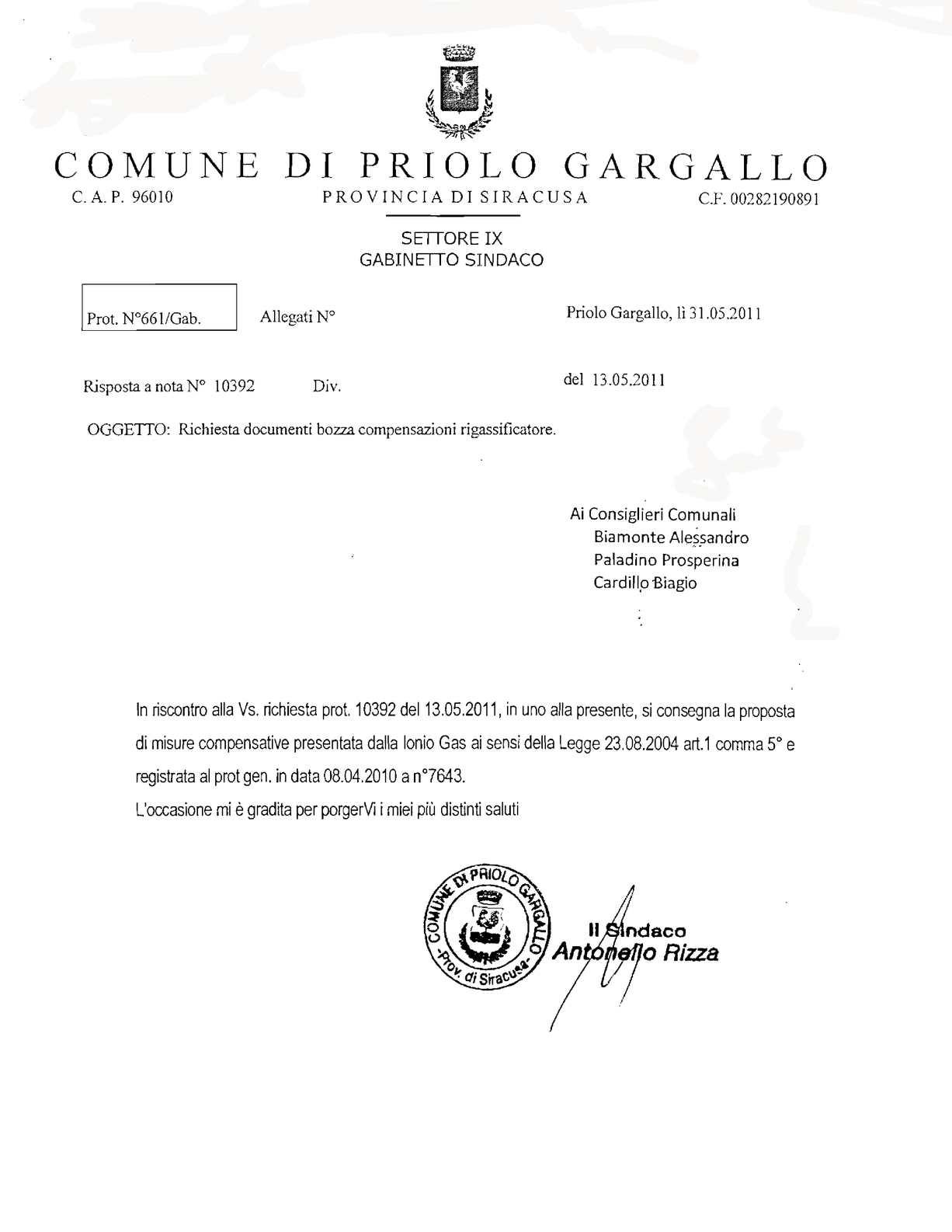 Calam o l 39 incredibile bozza compensazioni comune priolo for Priolo arredamenti roma