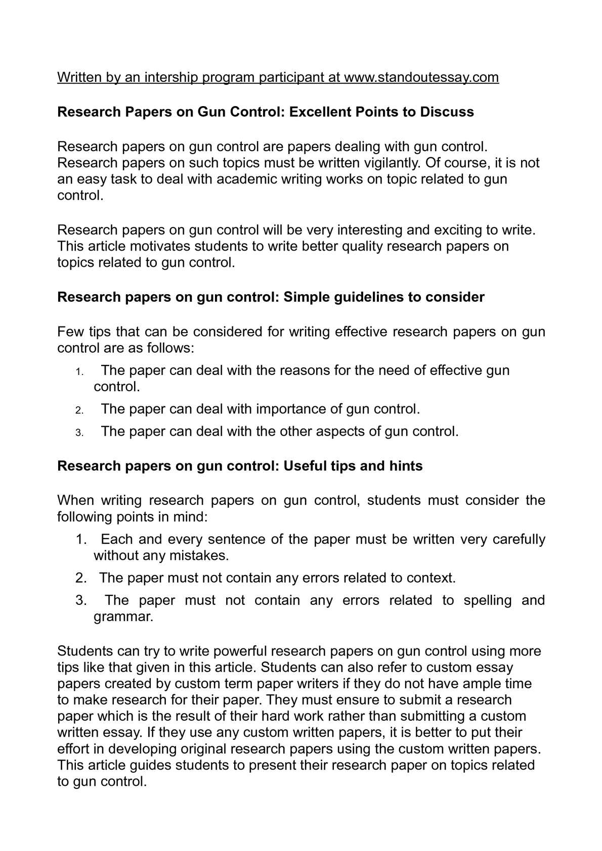 gun control research paper questions