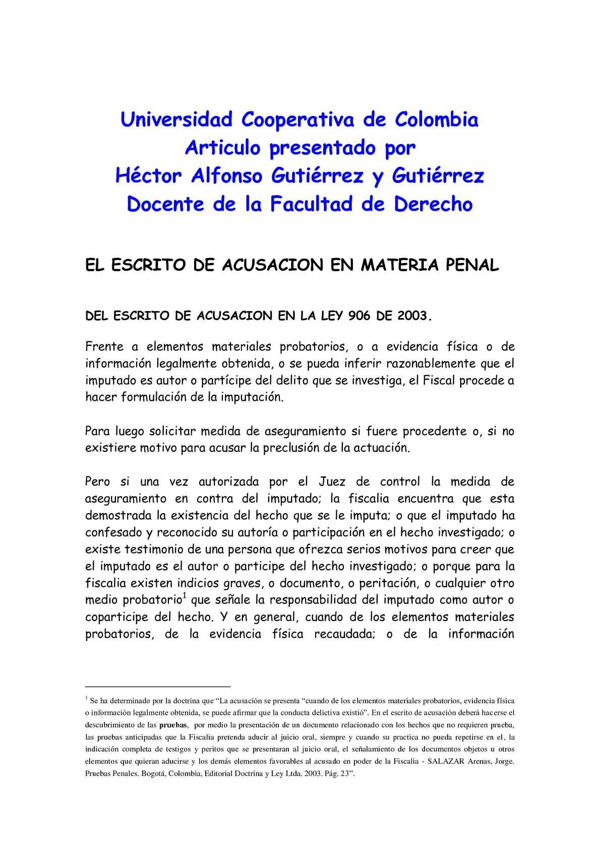 Calaméo - ESCRITO DE ACUSACION EN LA LEY 906 DE 2004 - COLOMBIA