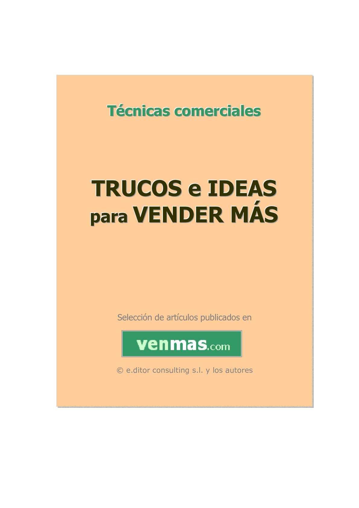 TRUCOS E IDEAS PARA VENDER MÁS