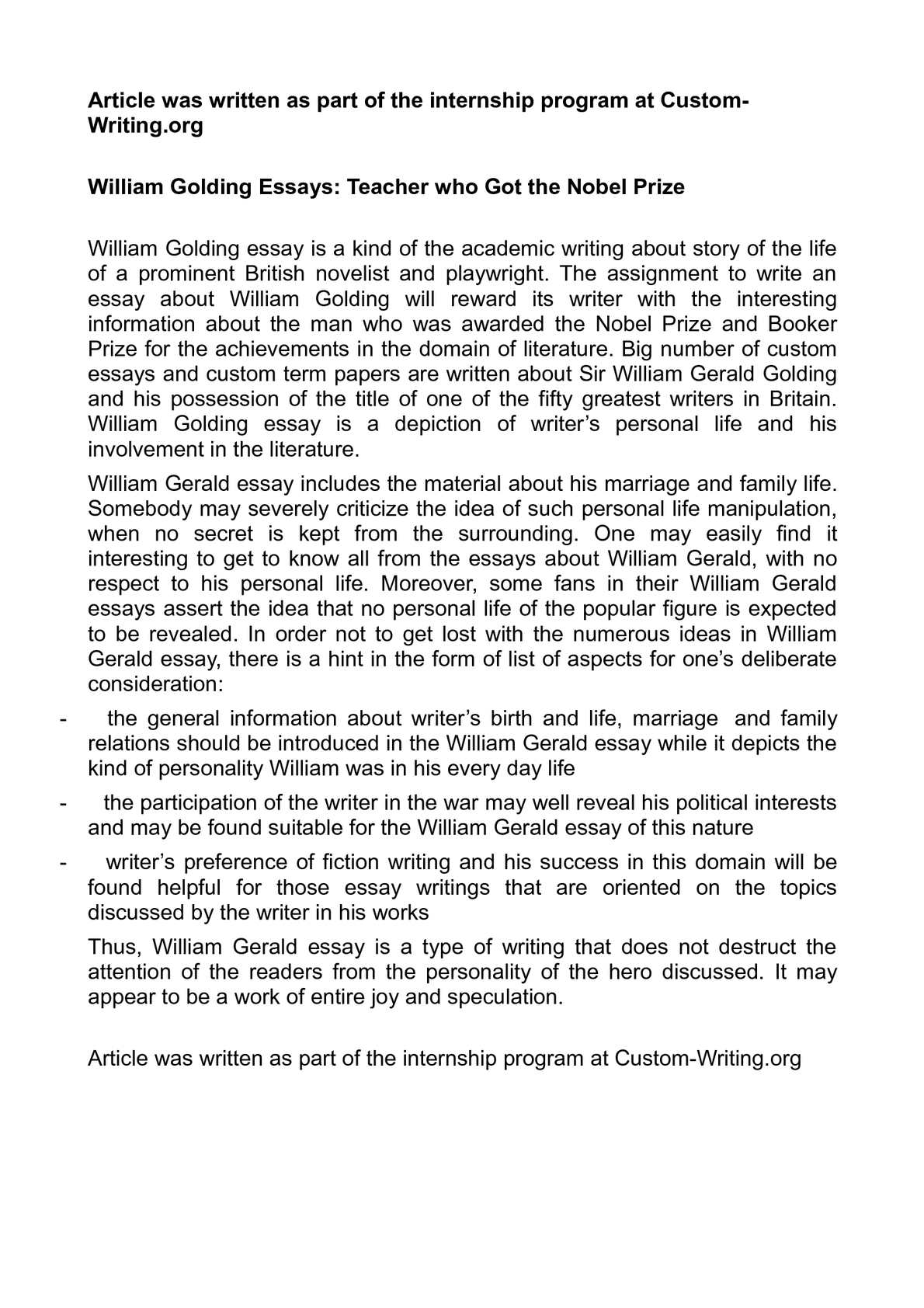 High School Experience Essay  Argumentative Essay On Health Care Reform also Essay For High School Students Calamo  William Golding Essays Teacher Who Got The Nobel Prize College Essay Paper Format