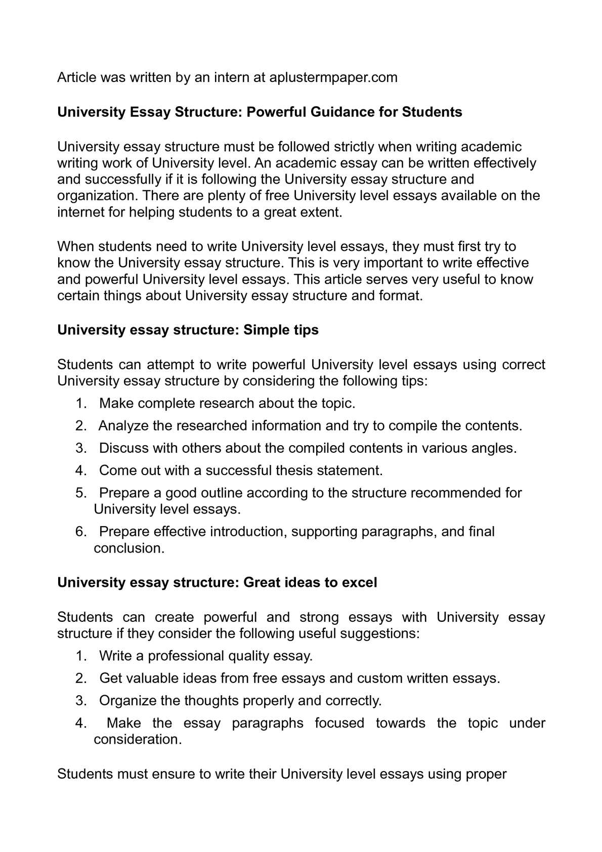 essay structure university level