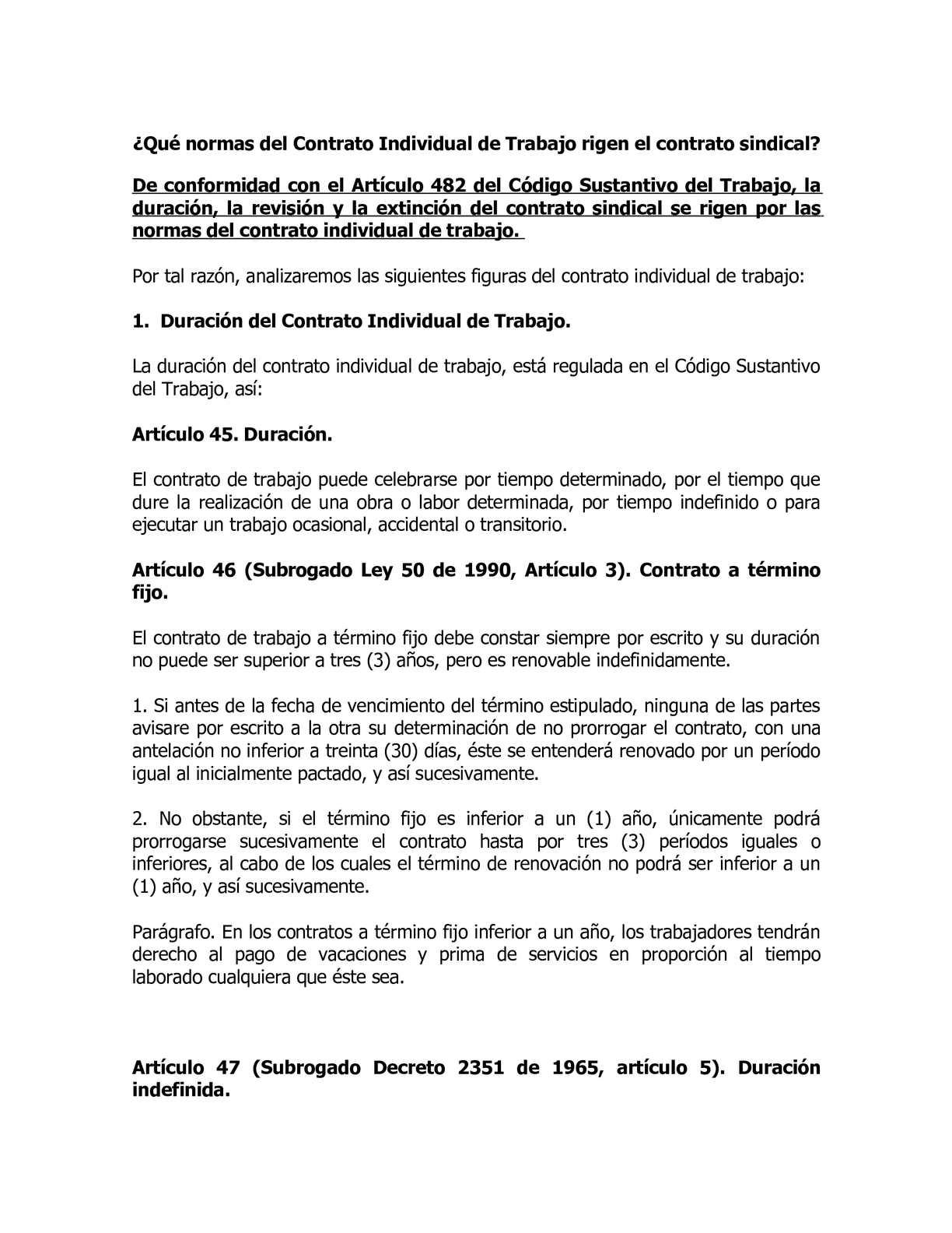 Calam o normas del contrato individual for Contrato laboral para empleadas domesticas