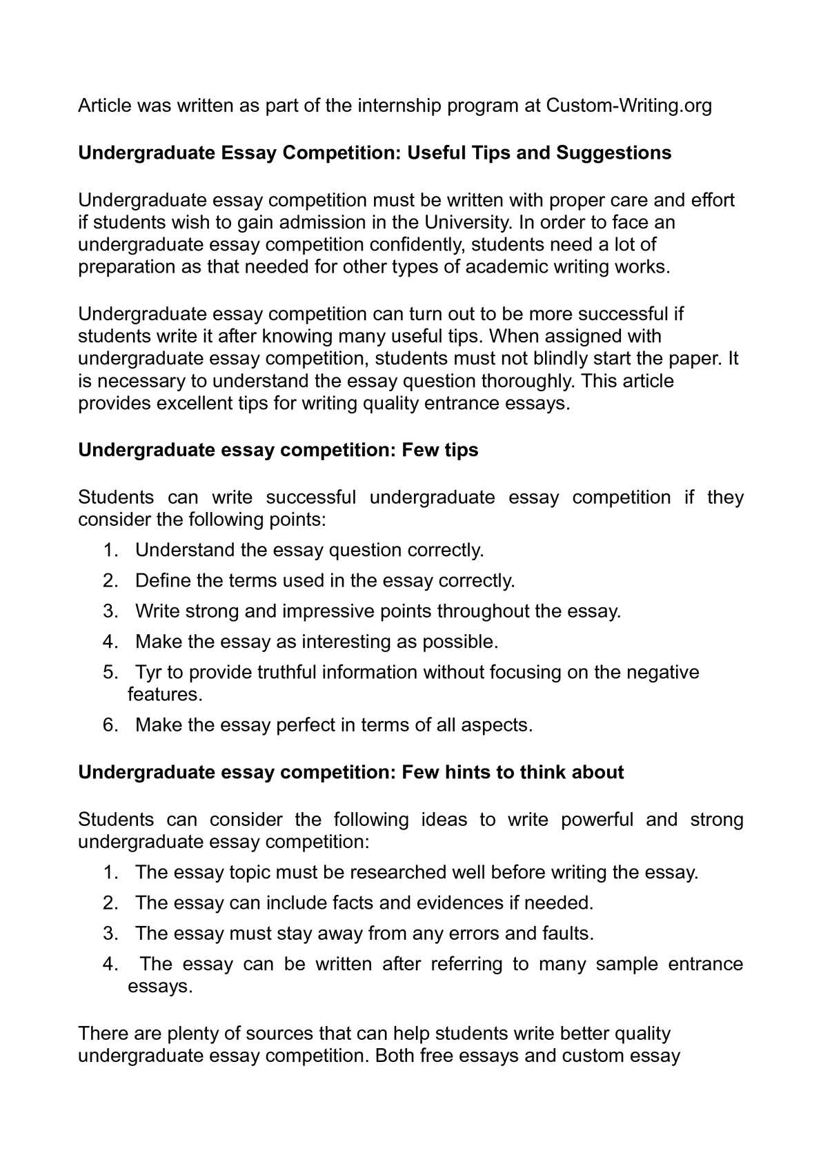 Persuasive Essay Thesis Statement Examples  Apa Style Essay Paper also Essay On My Mother In English Calamo  Undergraduate Essay Competition Useful Tips And Suggestions English Essay Introduction Example