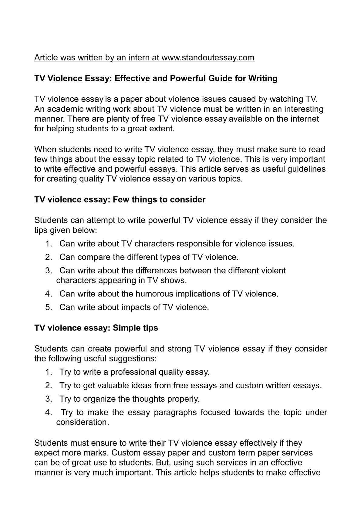 Calaméo - TV Violence Essay: Effective and Powerful Guide for Writing