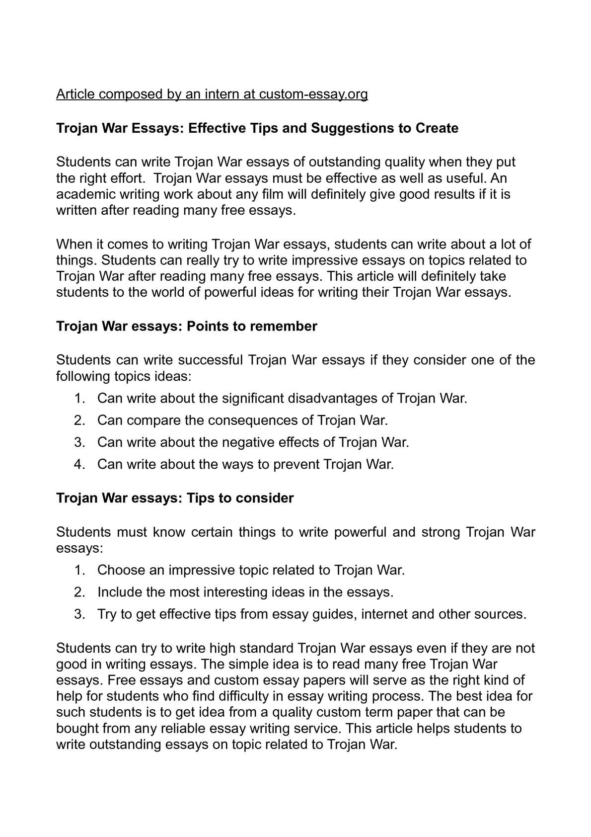 Calamo  Trojan War Essays Effective Tips And Suggestions To Create  How To Write A Proposal For An Essay also Who Will Do My Homwor For Cheap  Online Writing Service Review