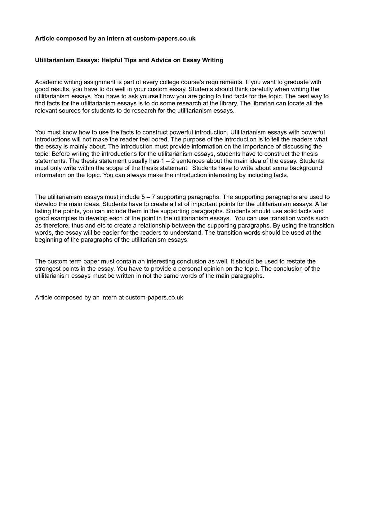 Health Essay Writing Calamo  Utilitarianism Essays Helpful Tips And Advice On Essay Writing Persuasive Essay Sample High School also Sample Essay Thesis Statement Calamo  Utilitarianism Essays Helpful Tips And Advice On Essay  Health Essay Sample