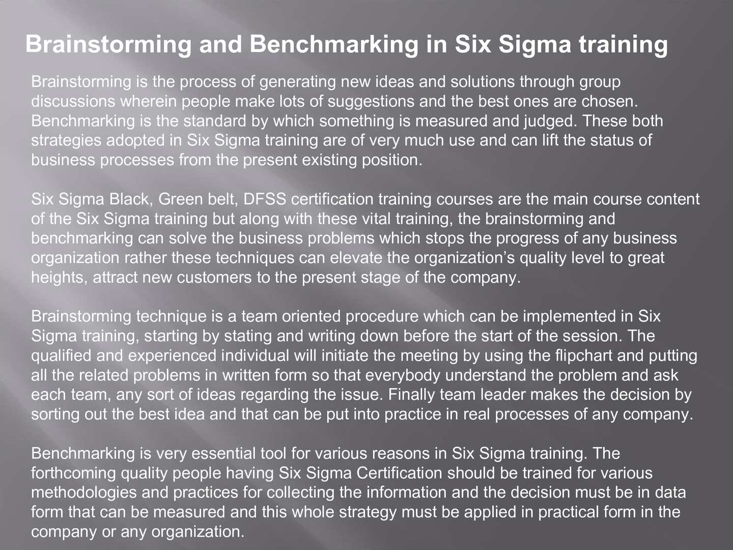 Calamo Brainstorming And Benchmarking In Six Sigma Training