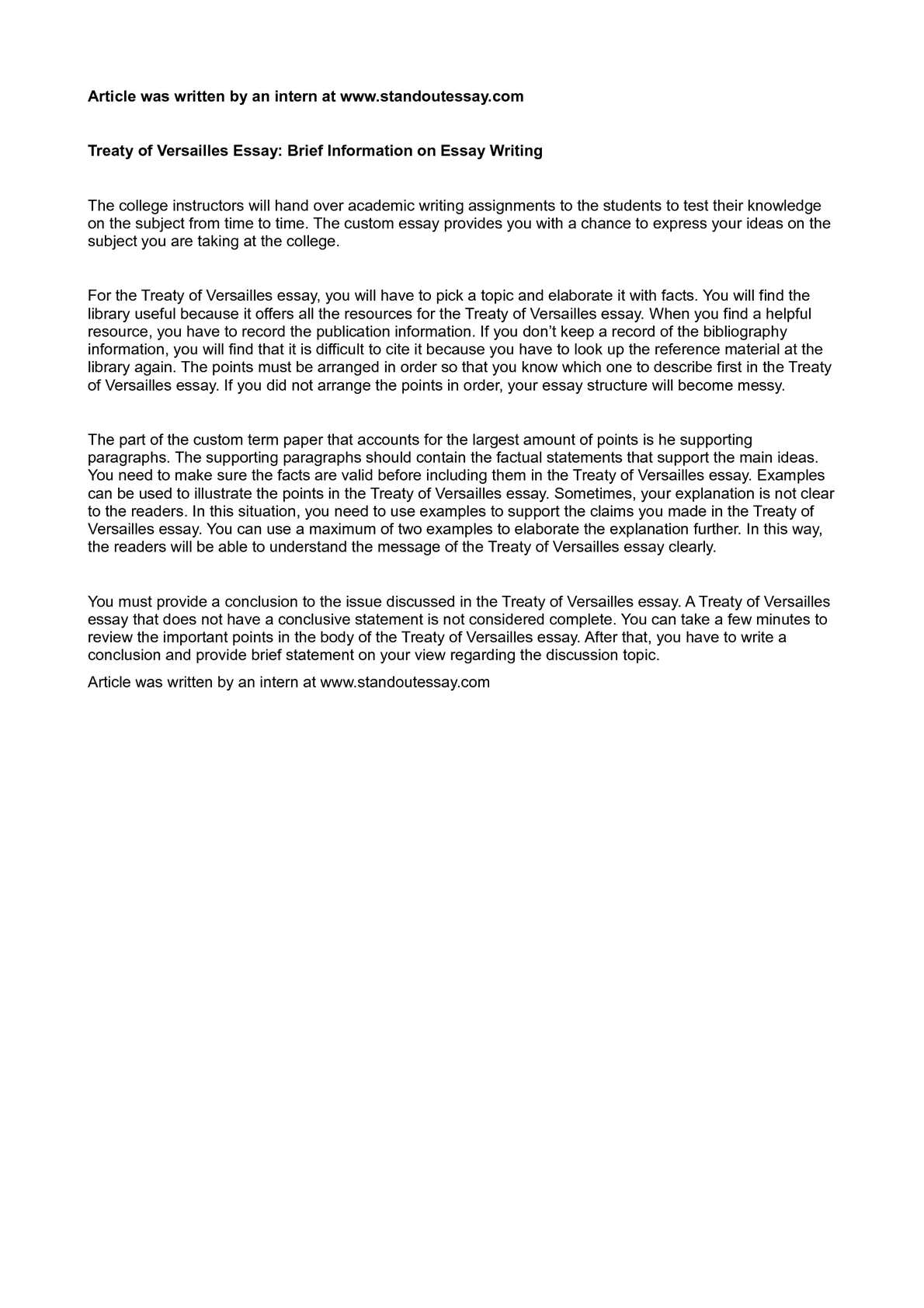 Calamo  Treaty Of Versailles Essay Brief Information On Essay Writing