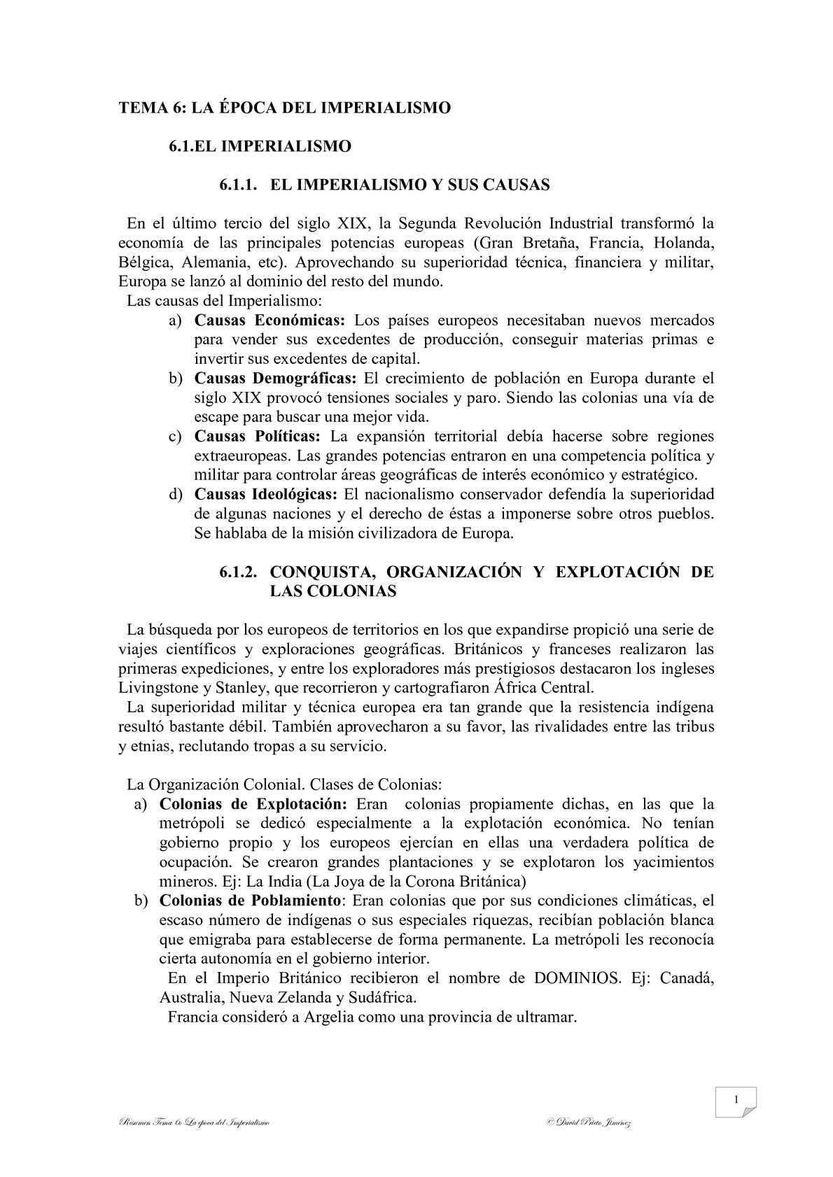 """RESUMEN TEMA 6 """"LA ÉPOCA DEL IMPERIALISMO Y LA PRIMERA GUERRA MUNDIAL"""""""