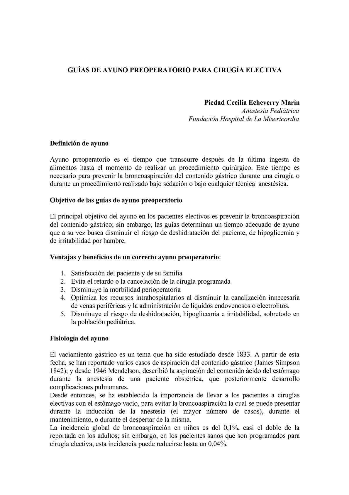 Calaméo - GUÍAS DE AYUNO PREOPERATORIO PARA CIRUGÍA ELECTIVA