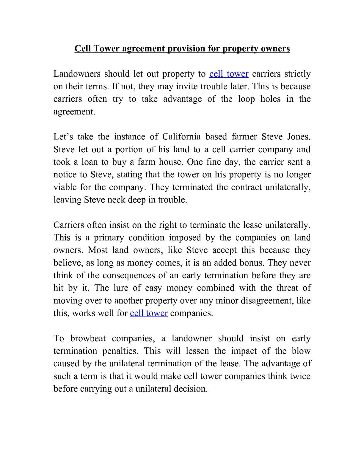 Calamo Cell Tower Agreement Provision For Property Owners