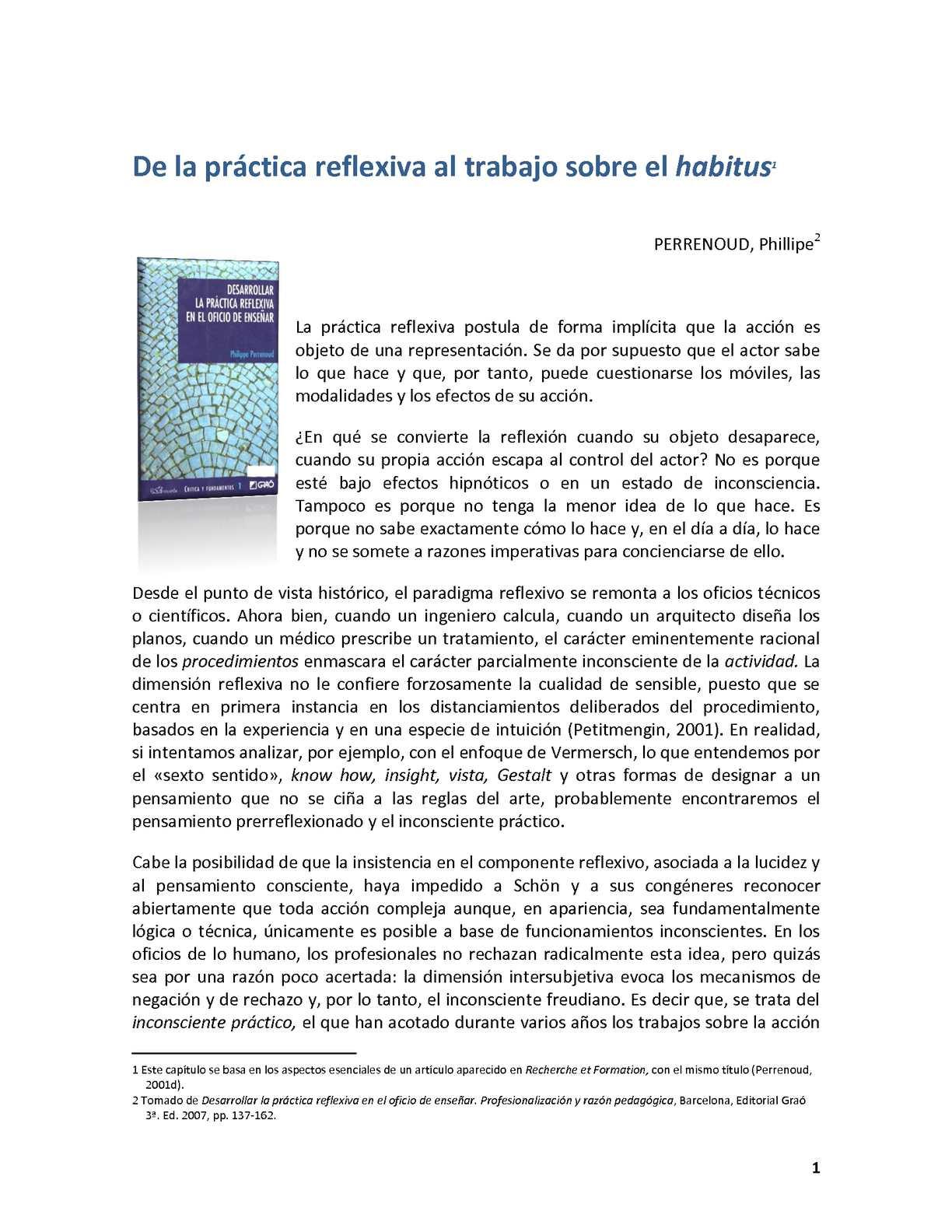 Calaméo - PERRENOUD. capVII practica reflexiva