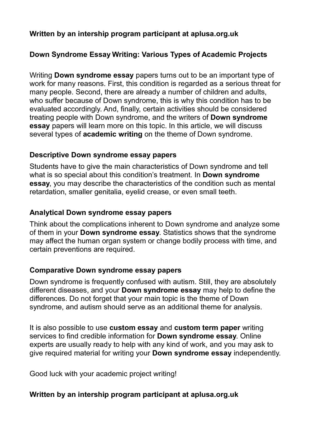 Essays On Health Care Reform Calamo  Down Syndrome Essay Writing Various Types Of Academic Projects Essay Writing Paper also High School Essays Examples Calamo  Down Syndrome Essay Writing Various Types Of Academic  What Is A Thesis Statement In An Essay
