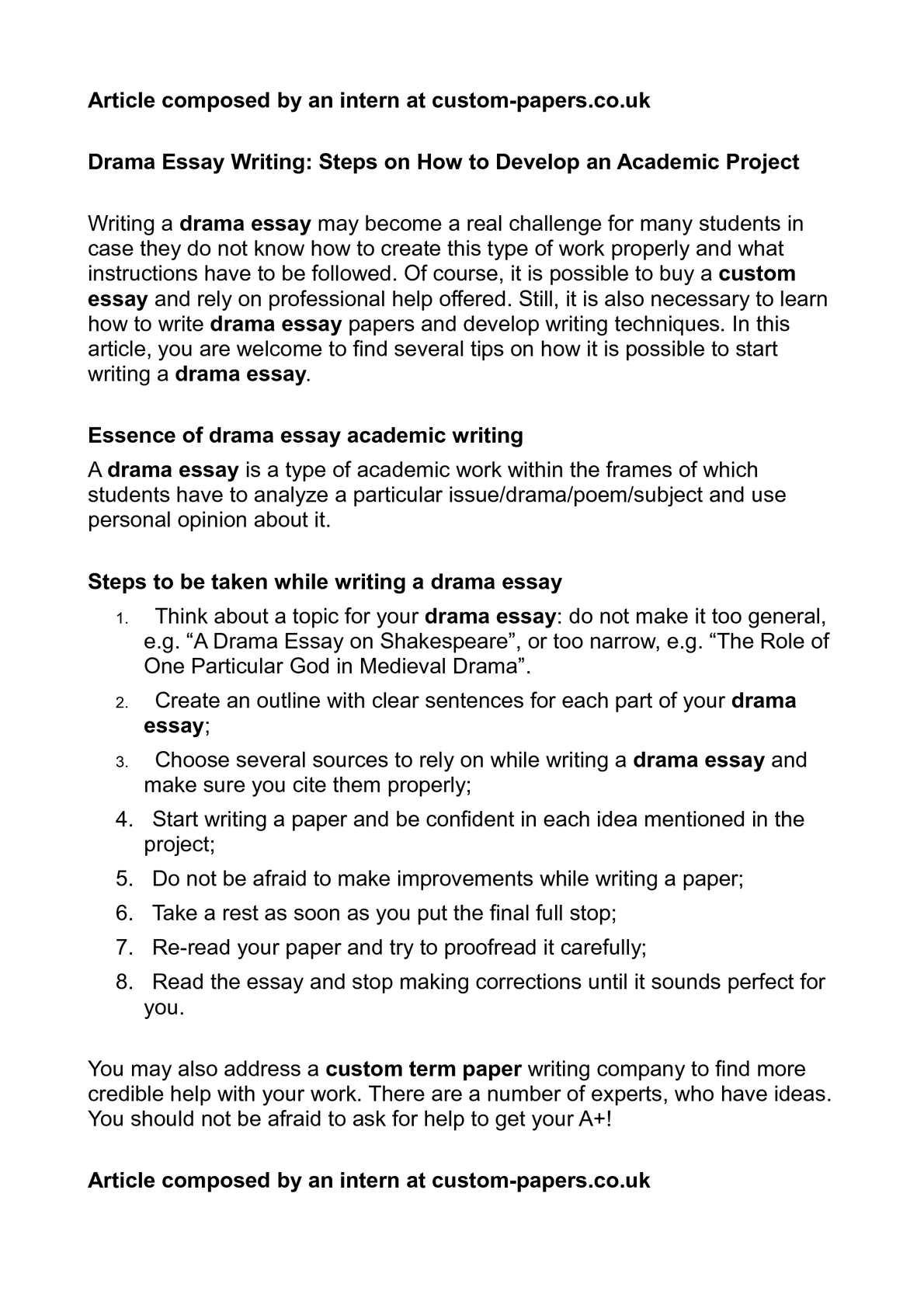 writing a drama essay