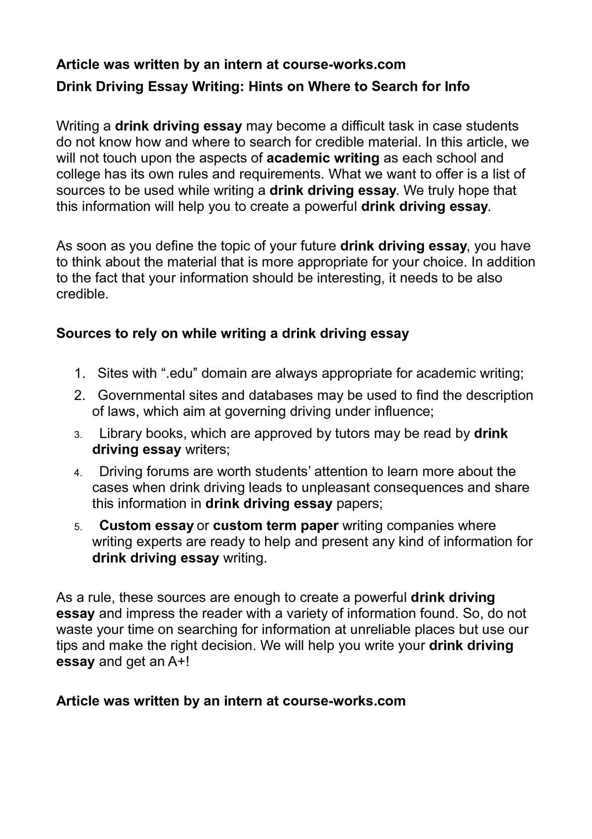 informative essay on drinking and driving Dalton cost per 3 10/17/07 persuasive essay its friday night all persuasive outline drinking and driving essays and term papers.