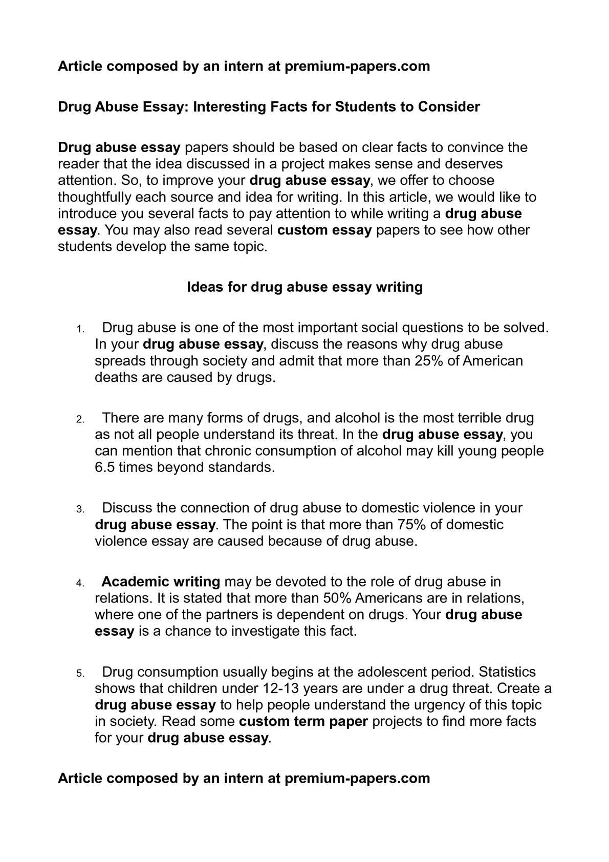 Drug Addiction Essays