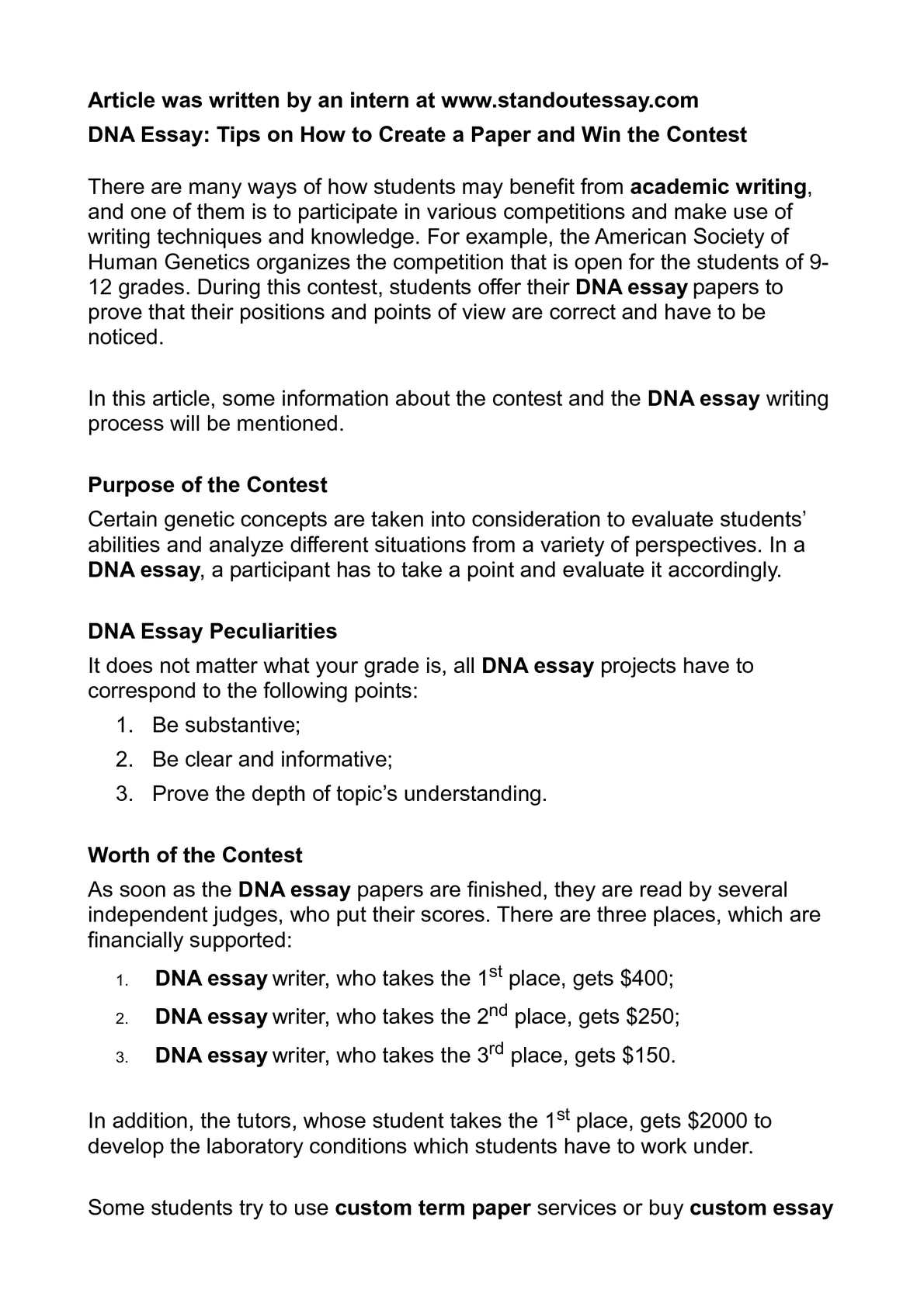Calamo  Dna Essay Tips On How To Create A Paper And Win The Contest