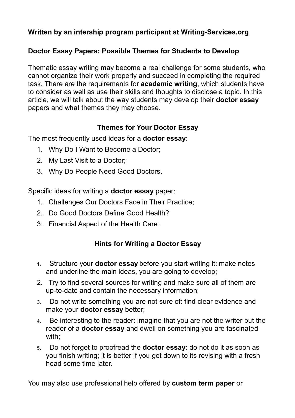 Personal History Essay  Correct My Essay also How To Write An Essay For Dummies Calamo  Doctor Essay Papers Possible Themes For Students To Develop Persuasive Essay Outline Worksheet