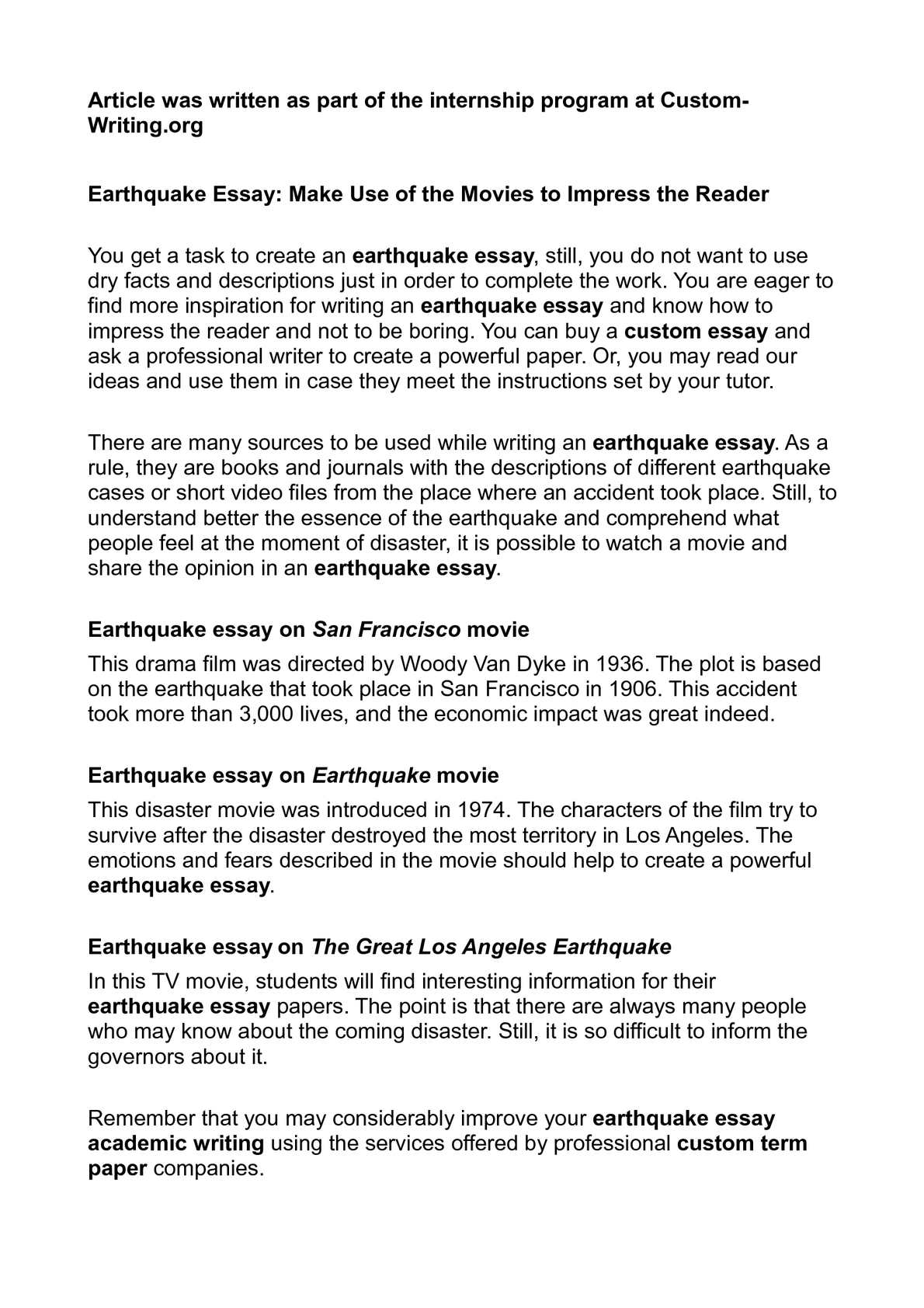 earthquake essay make use of the movies to impress the  earthquake essay make use of the movies to impress the reader