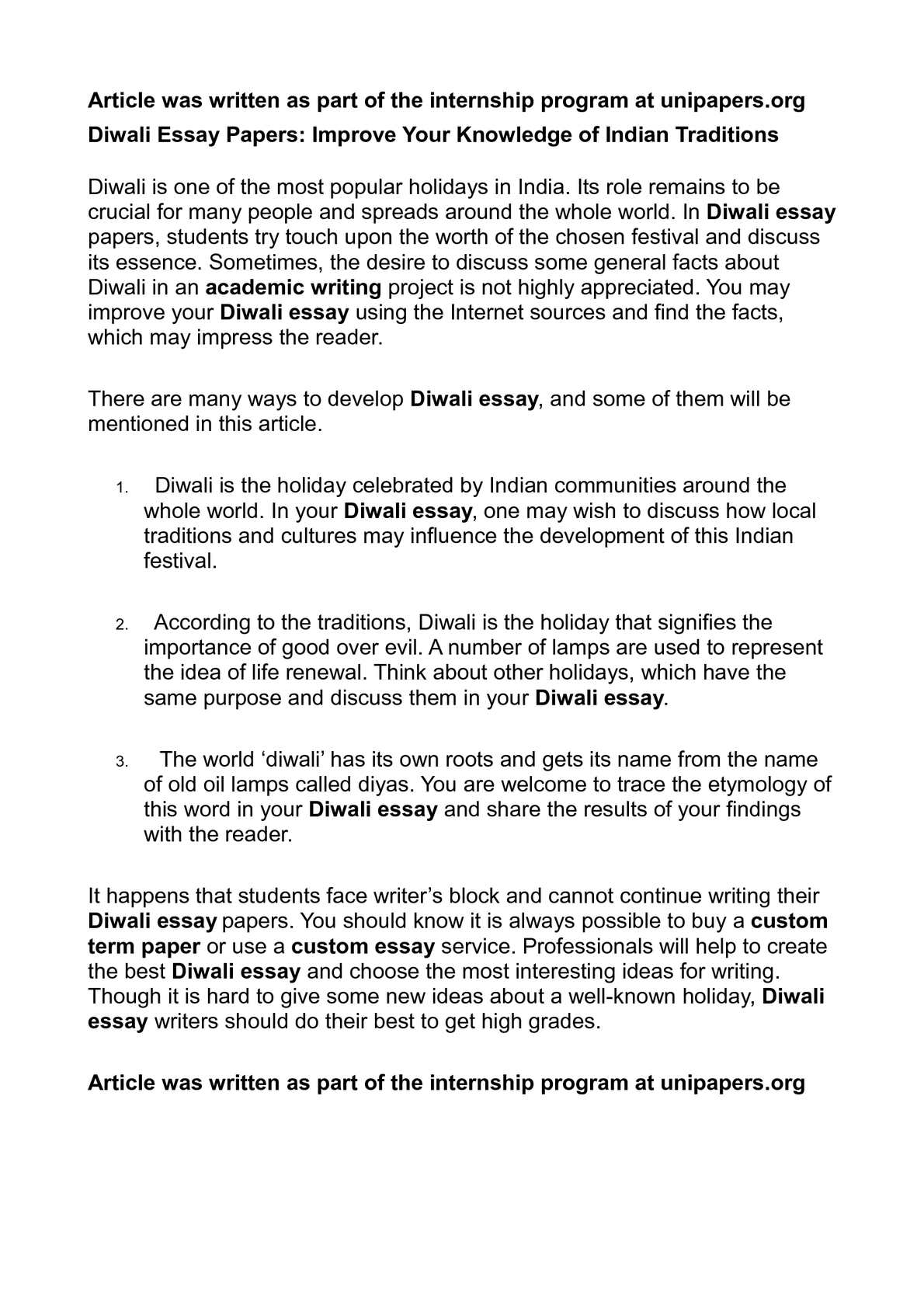 Essay on Diwali Festival