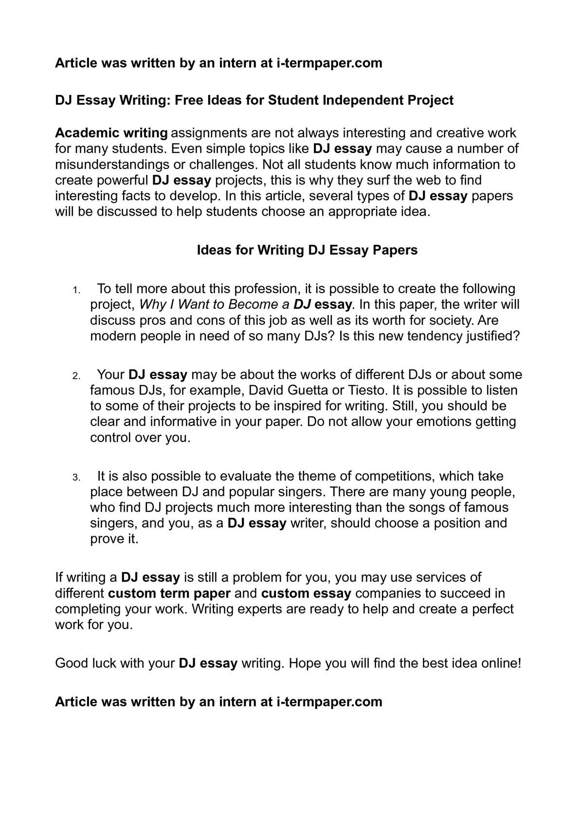 calamo  dj essay writing free ideas for student independent project