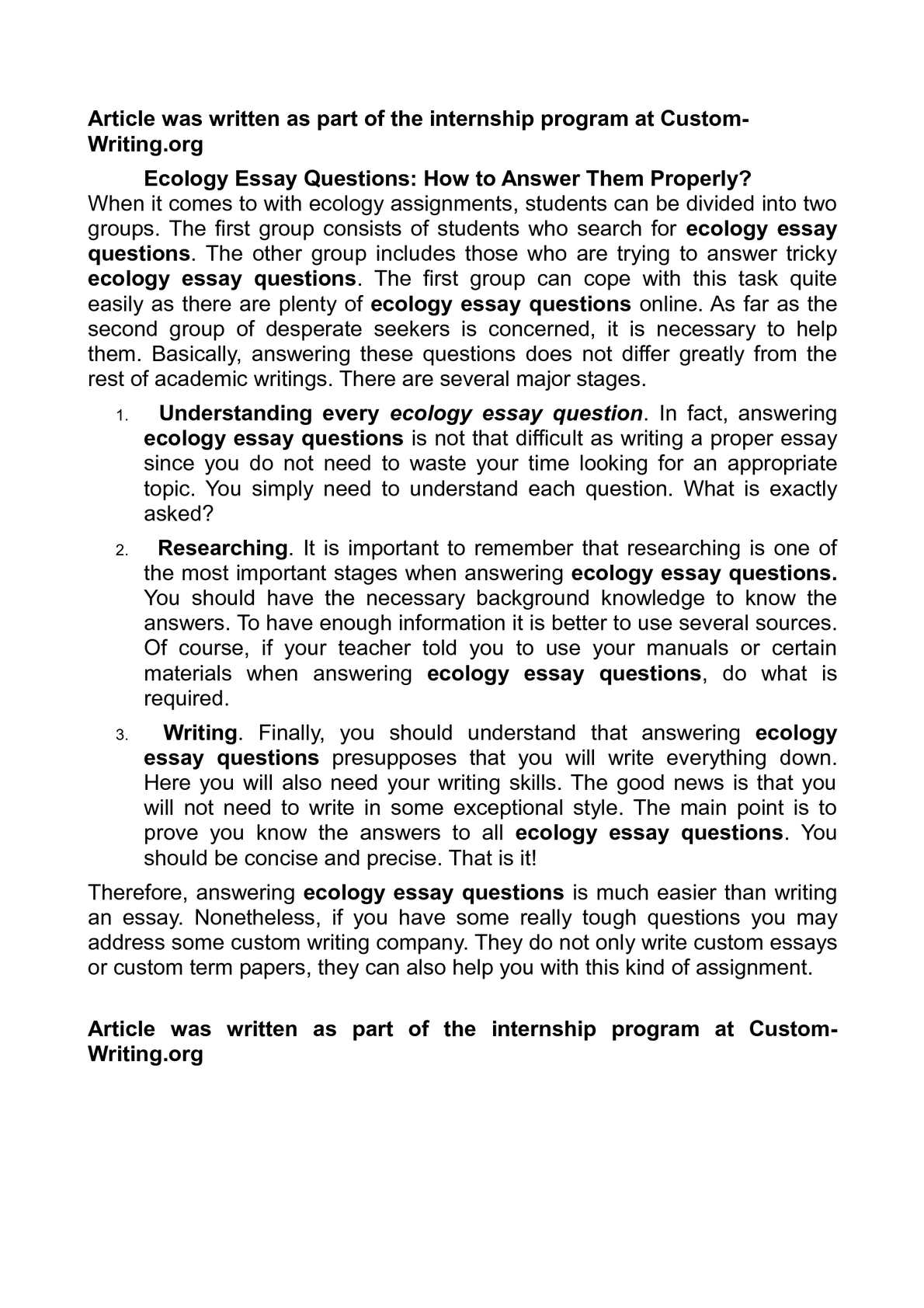 essay questions about ecology Biology 20c - fall 1998 ecology and evolutionary biology final  examination the final examination will include one long essay you should plan  to.