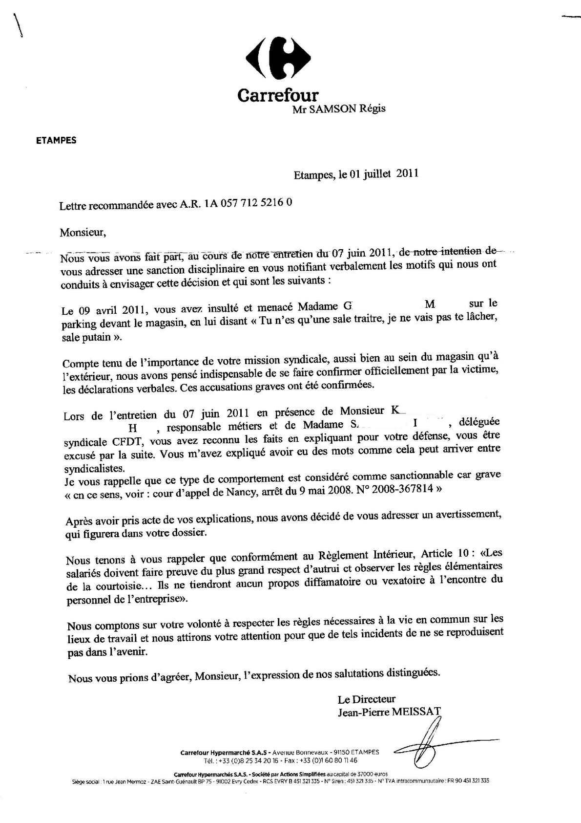 Carrefour Etampes : affaire Carrefour contre SAMSON ( la suite)