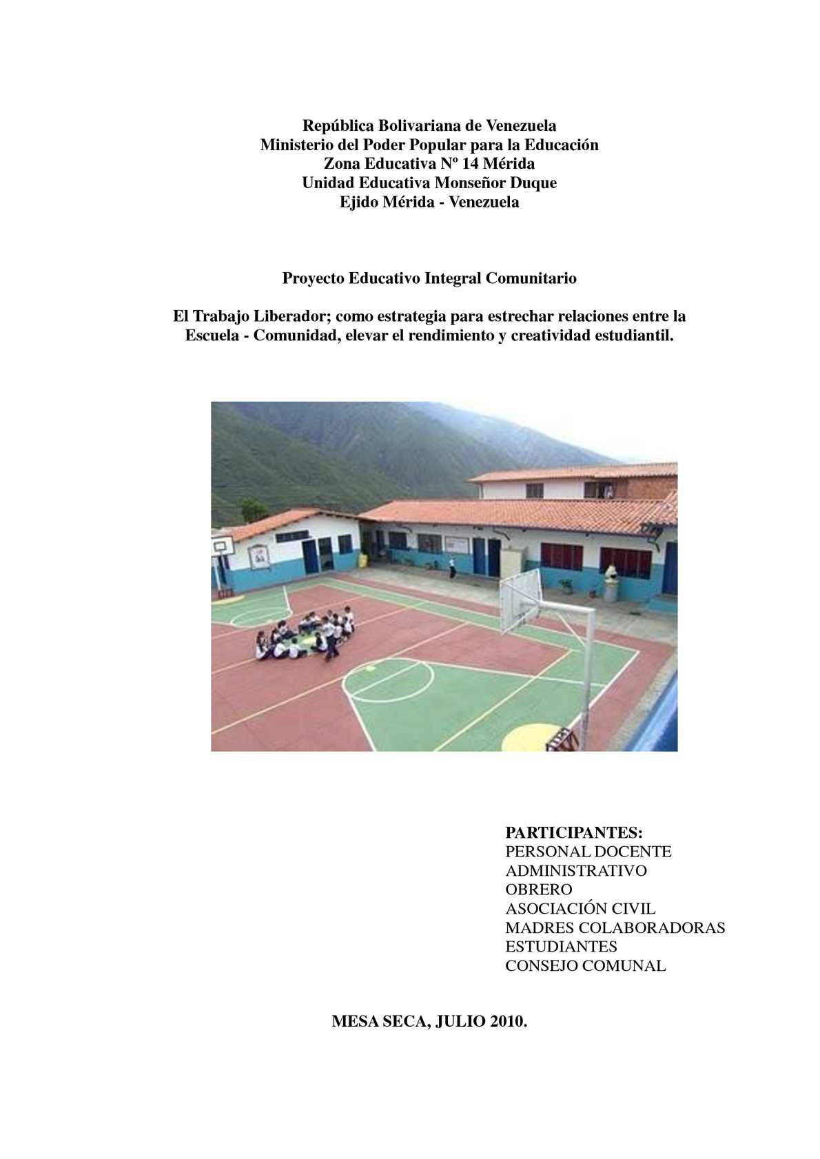 Calam o proyecto educativo integral comunitario monse or for Proyecto para una cantina escolar