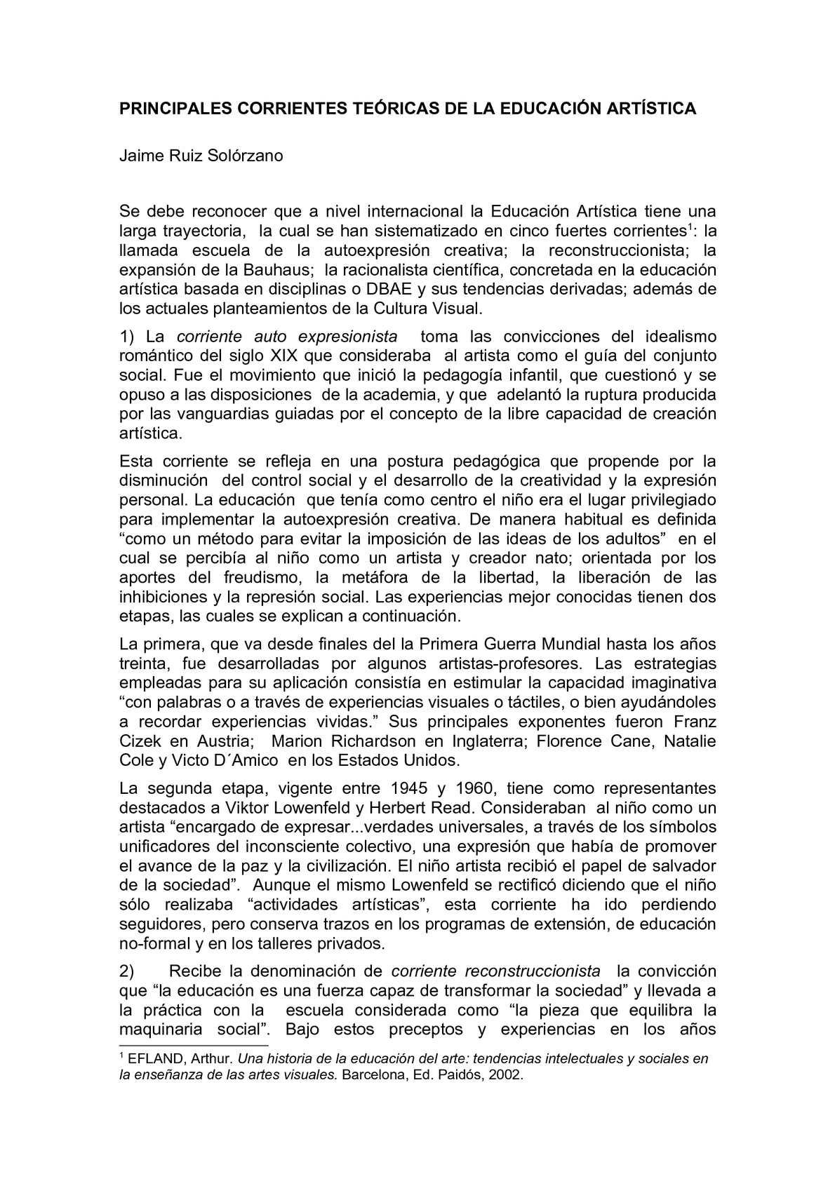 CORRIENTES TEÓRICAS DE LA EDUCACIÓN ARTÍSTICA