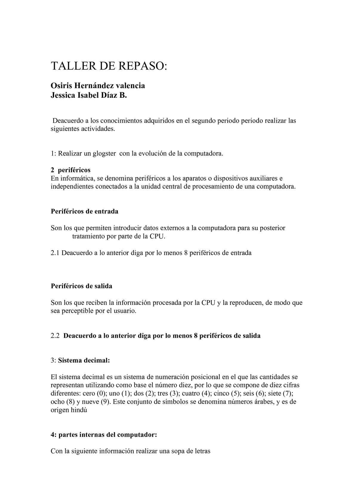 TALLER DE REPASO