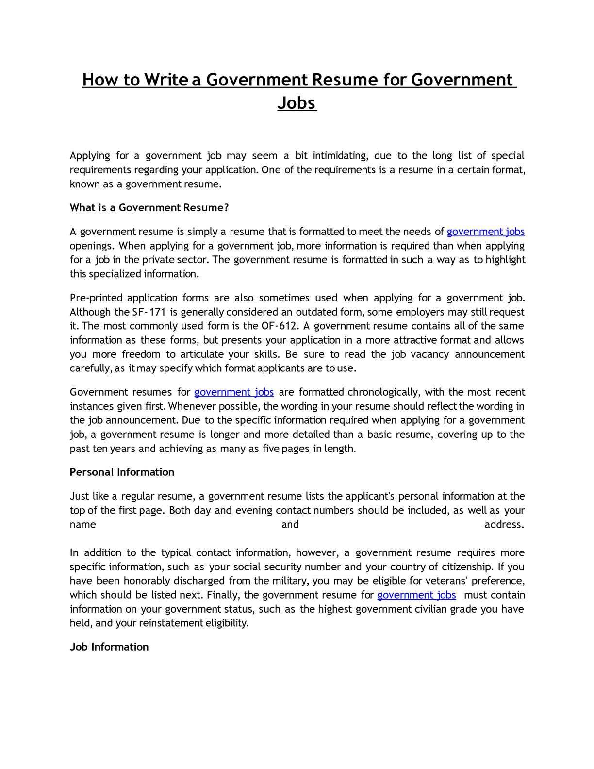 Calamo How To Write A Government Resume For Government Jobs