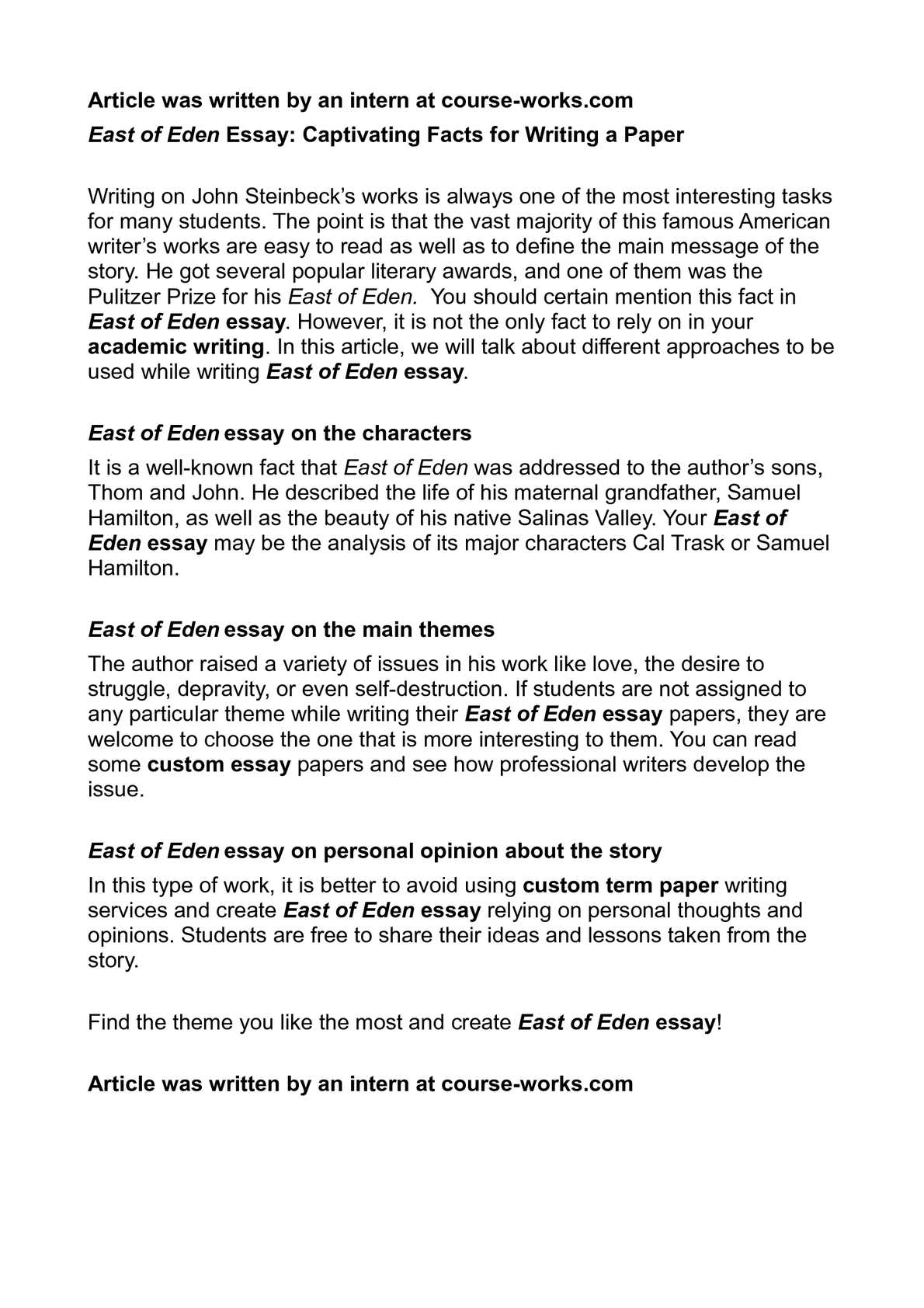 east of eden character analysis essay East of eden: character profiles, free study guides and book notes including comprehensive chapter analysis, complete summary analysis, author.